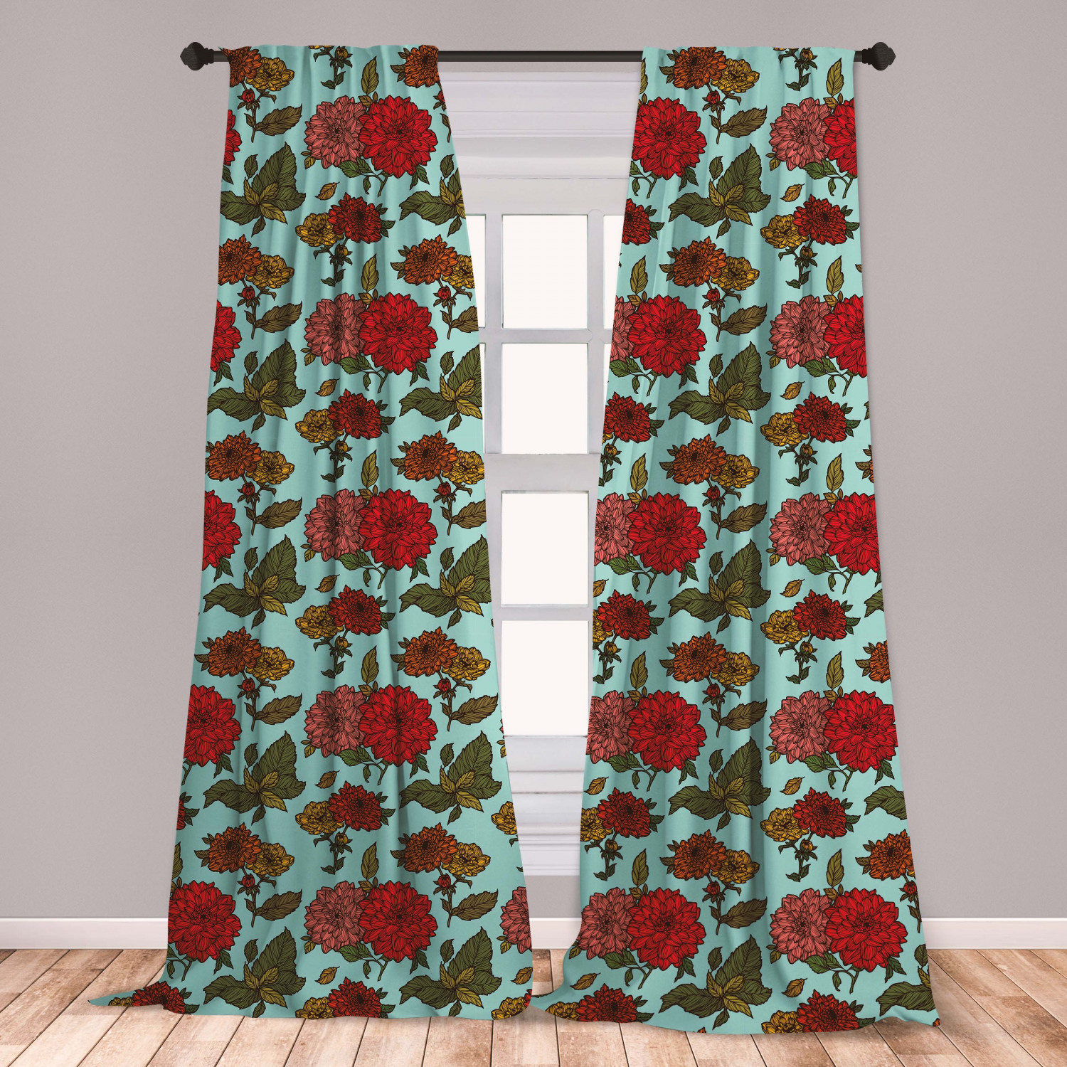 Curtains Drapes Flower Print Microfiber Curtains 2 Panel Set Living Room Bedroom In 3 Sizes Home Garden Mbln Org