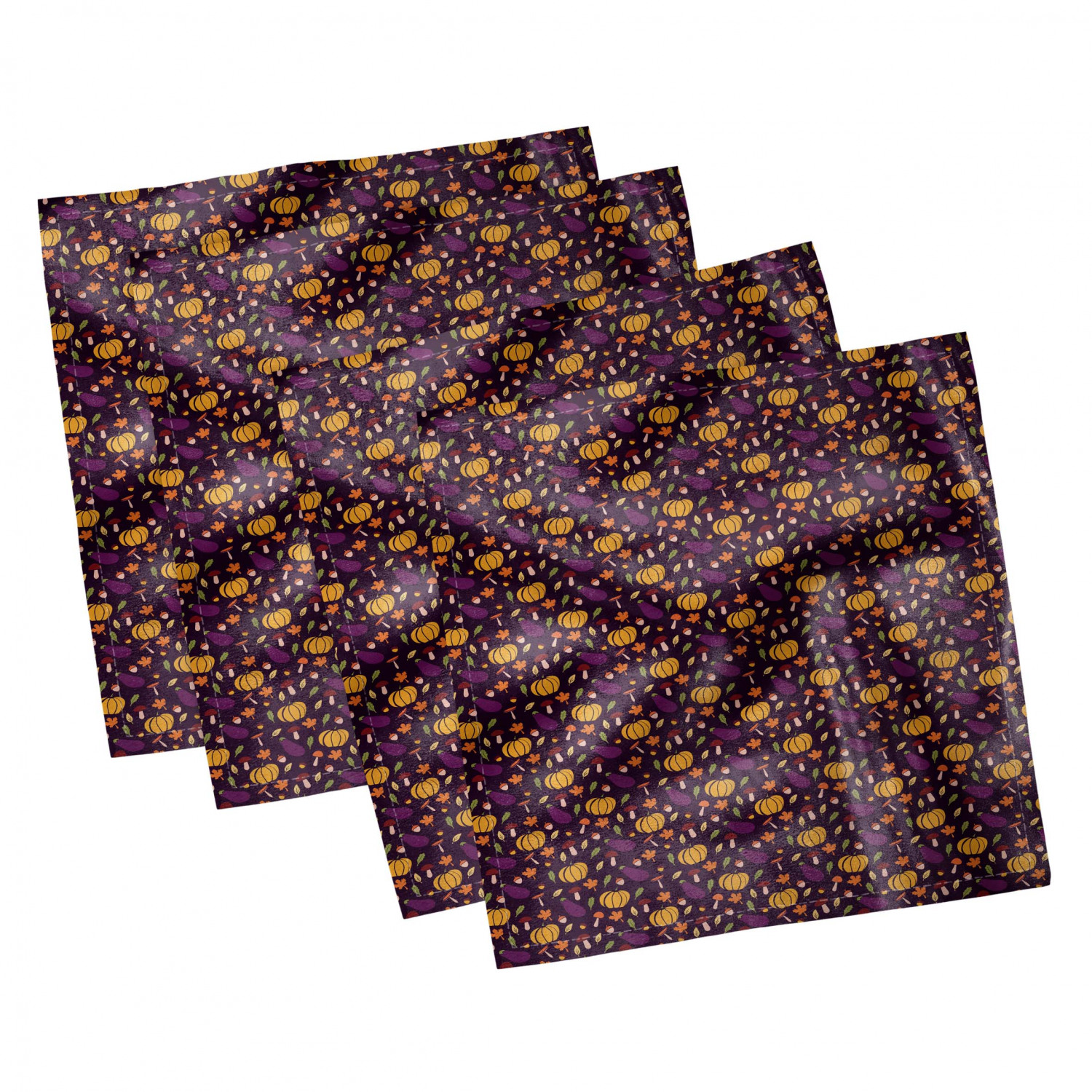 thumbnail 91 - Ambesonne Autumn Fall Decorative Satin Napkins Set of 4 Party Dinner Fabric