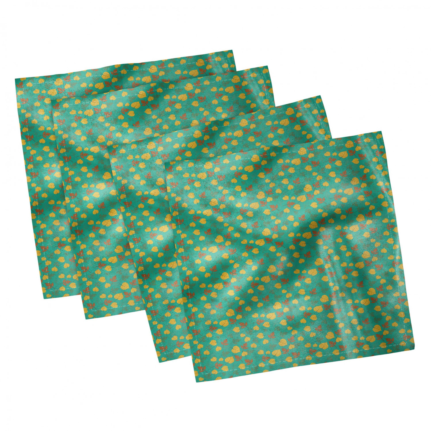 thumbnail 33 - Ambesonne Autumn Fall Decorative Satin Napkins Set of 4 Party Dinner Fabric