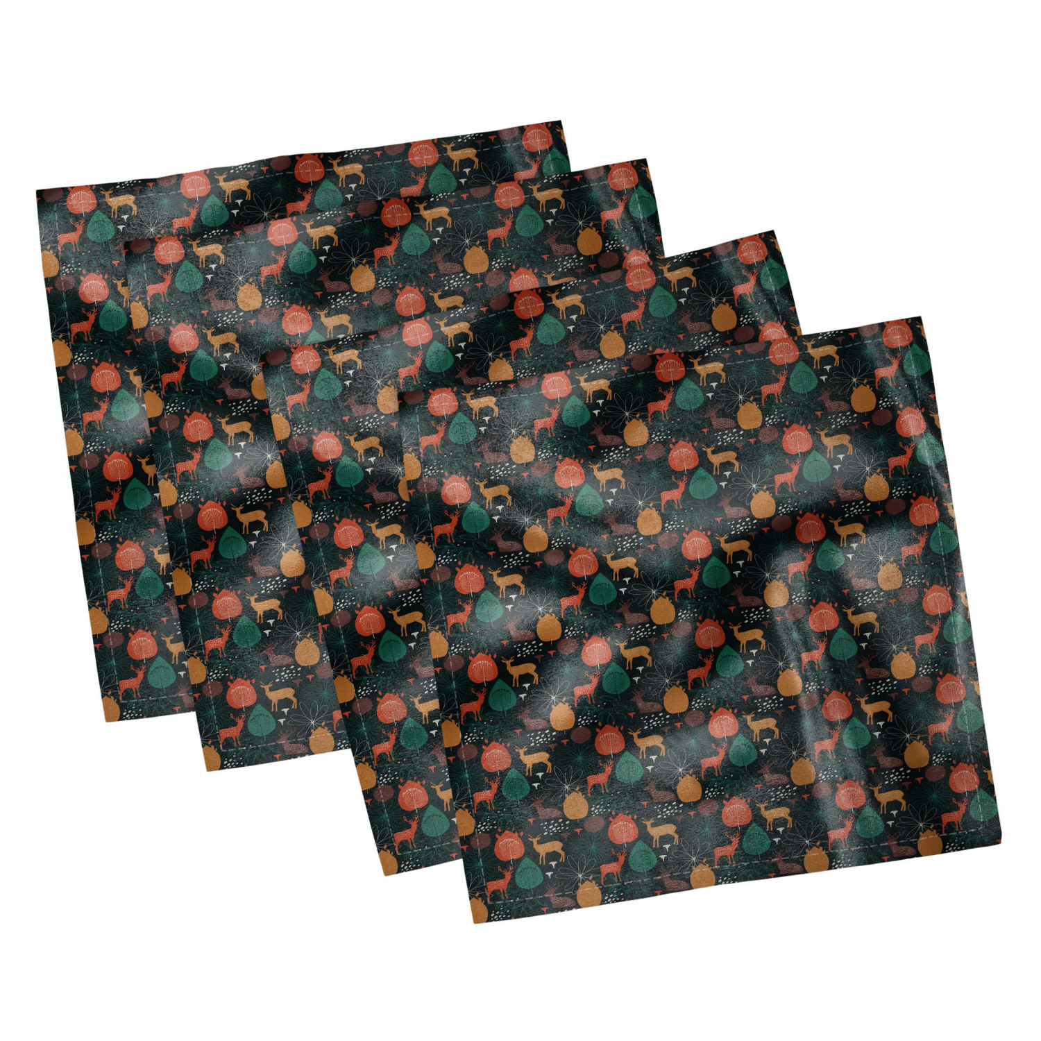 thumbnail 121 - Ambesonne Autumn Fall Decorative Satin Napkins Set of 4 Party Dinner Fabric