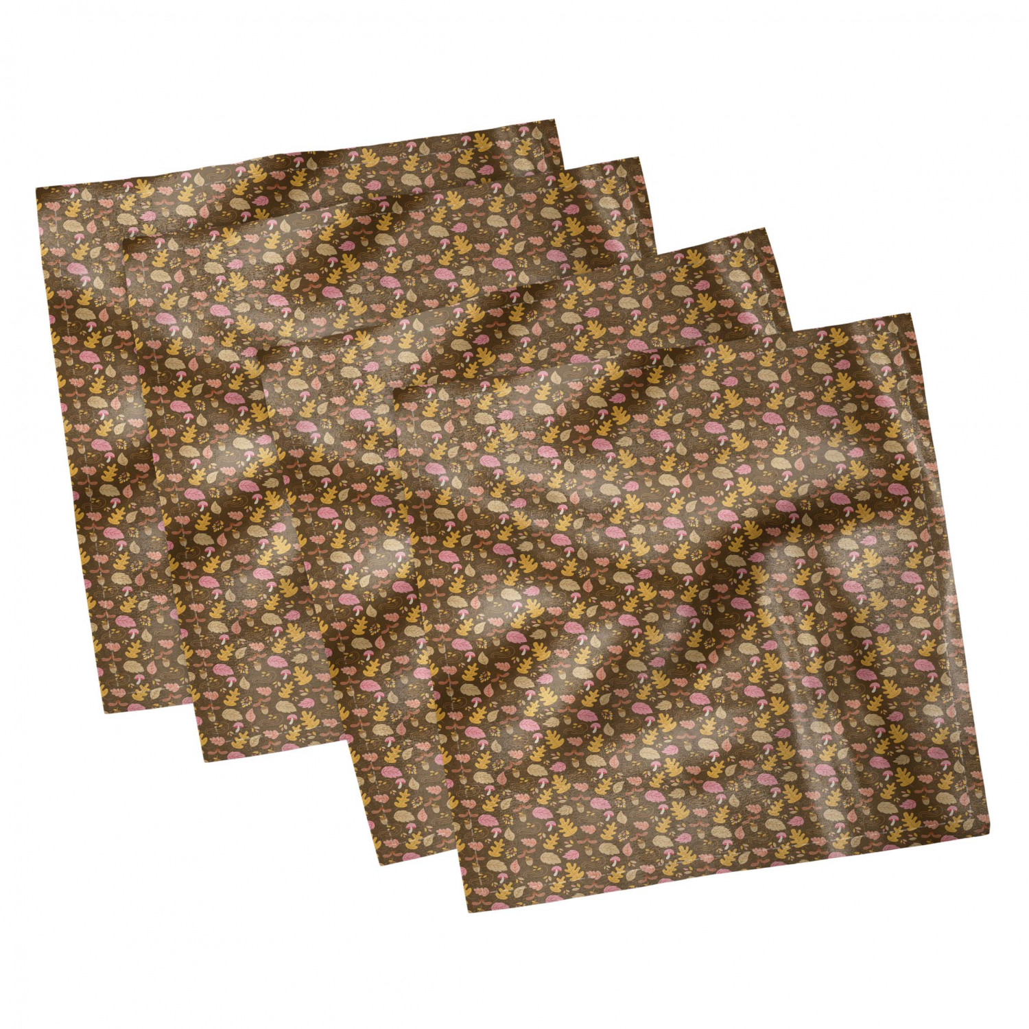 thumbnail 93 - Ambesonne Autumn Fall Decorative Satin Napkins Set of 4 Party Dinner Fabric