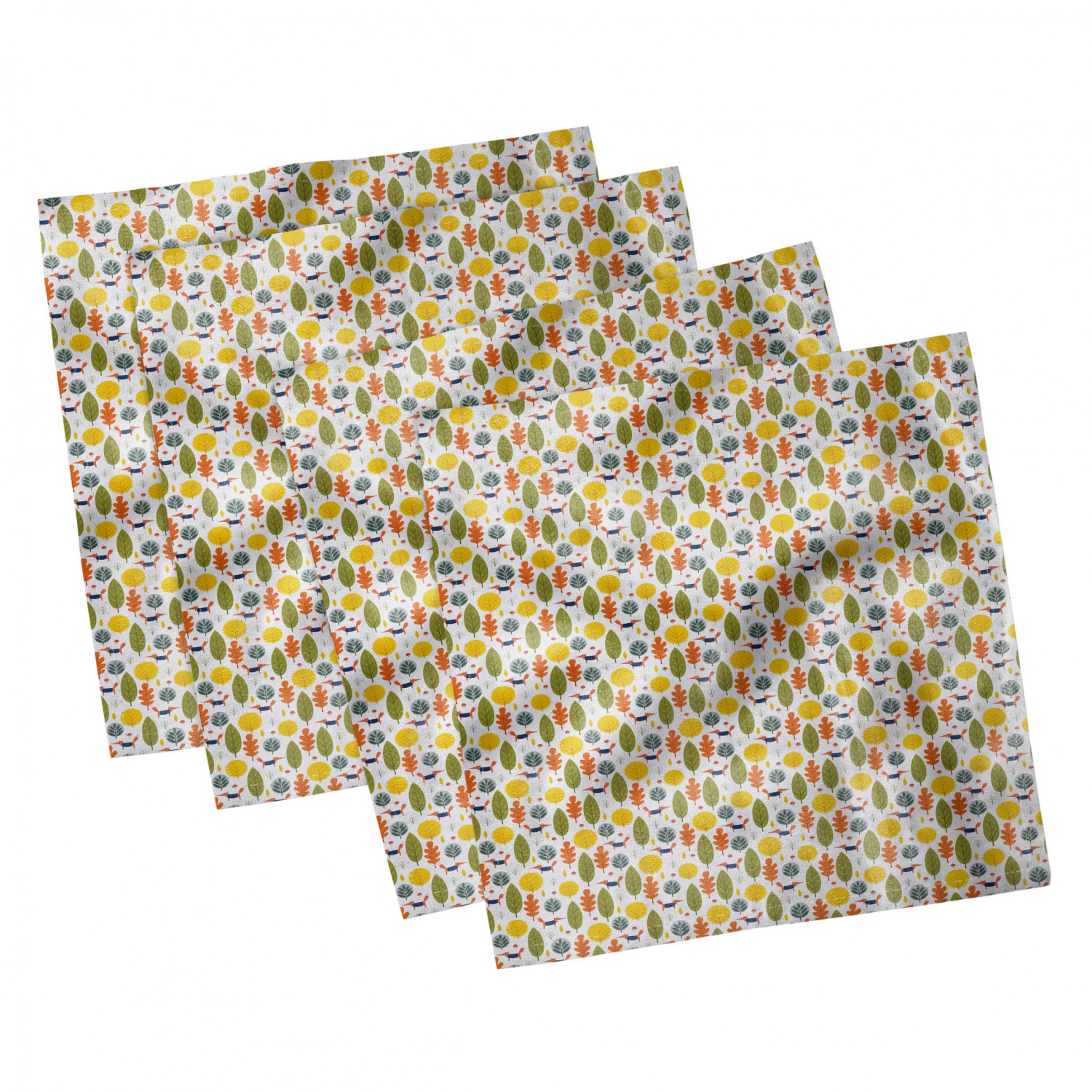 thumbnail 55 - Ambesonne-Autumn-Fall-Decorative-Satin-Napkins-Set-of-4-Party-Dinner-Fabric