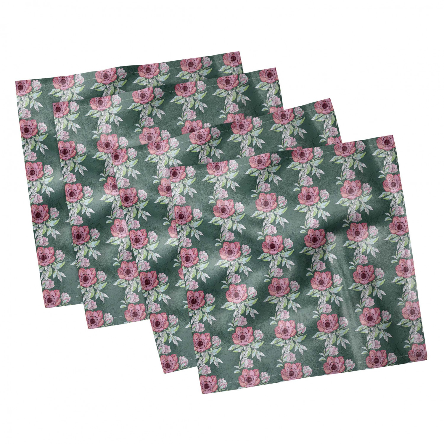 thumbnail 123 - Ambesonne-Leaves-Forest-Decorative-Satin-Napkins-Set-of-4-Party-Dinner-Fabric