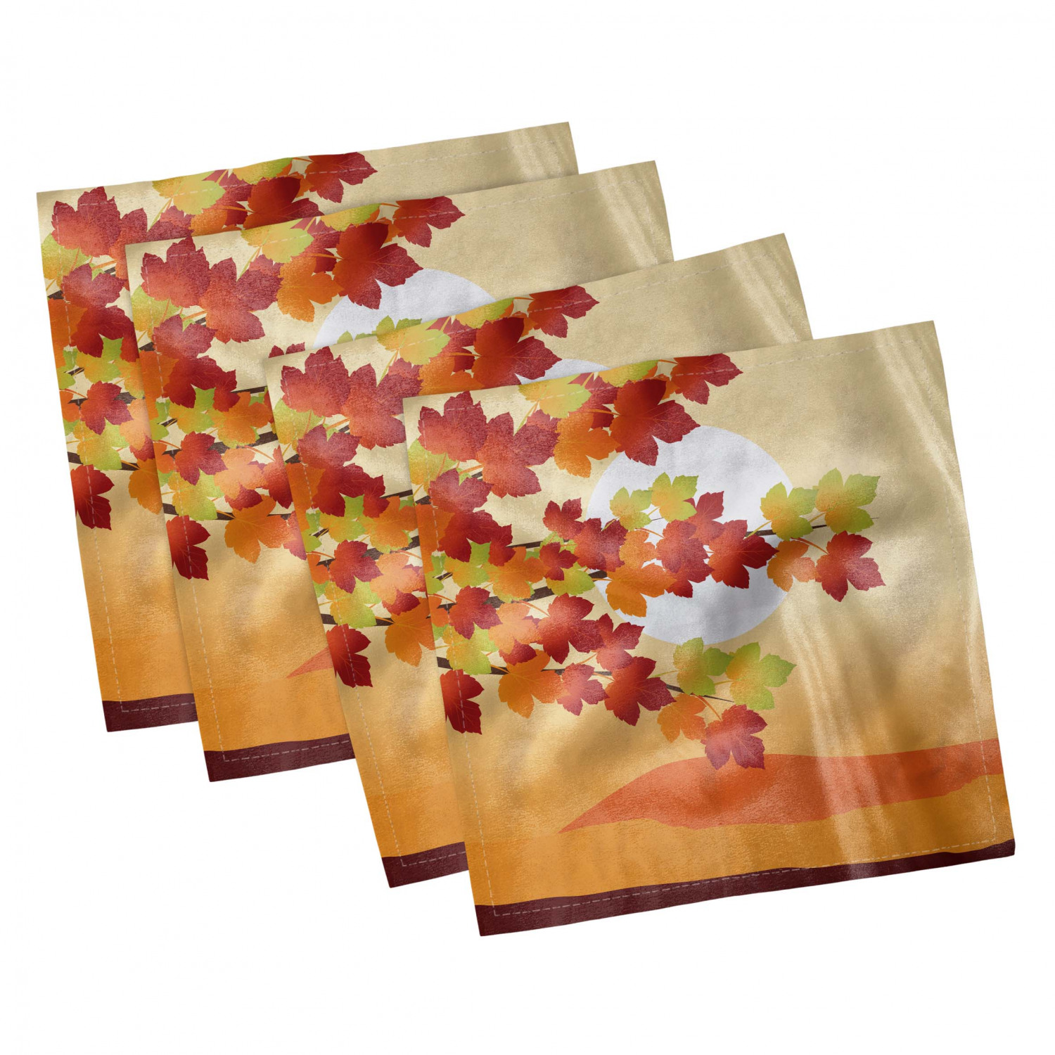 thumbnail 77 - Ambesonne Autumn Fall Decorative Satin Napkins Set of 4 Party Dinner Fabric