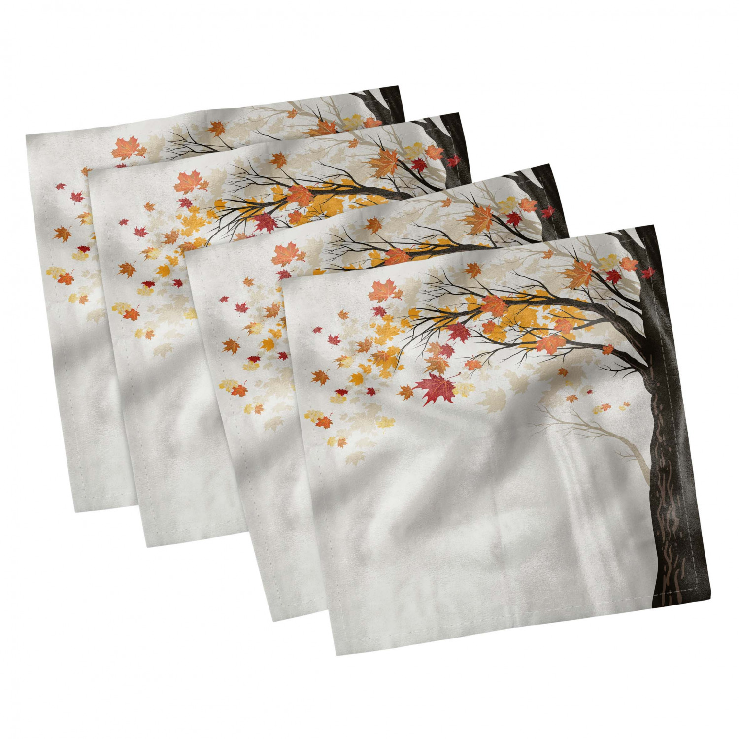 thumbnail 99 - Ambesonne Autumn Fall Decorative Satin Napkins Set of 4 Party Dinner Fabric
