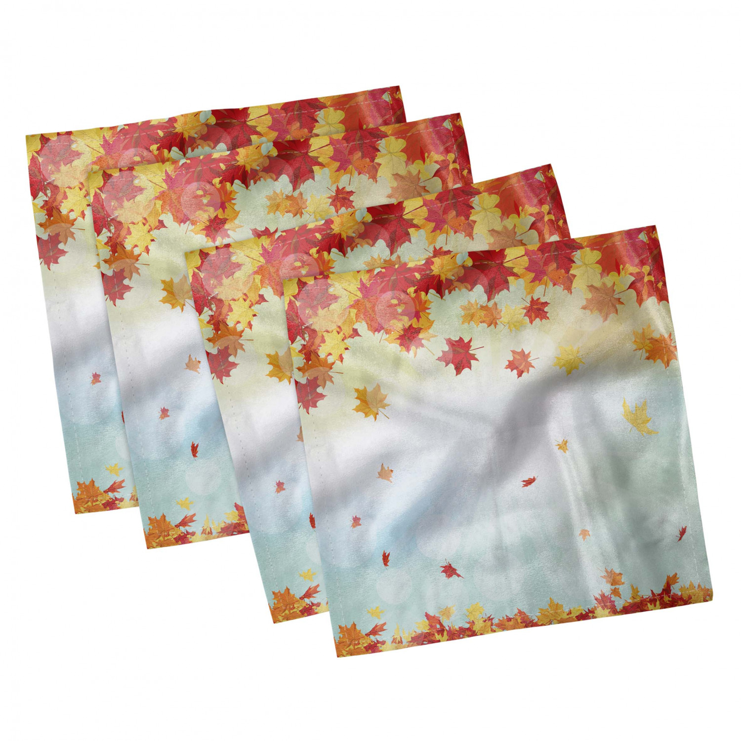 thumbnail 47 - Ambesonne Autumn Fall Decorative Satin Napkins Set of 4 Party Dinner Fabric