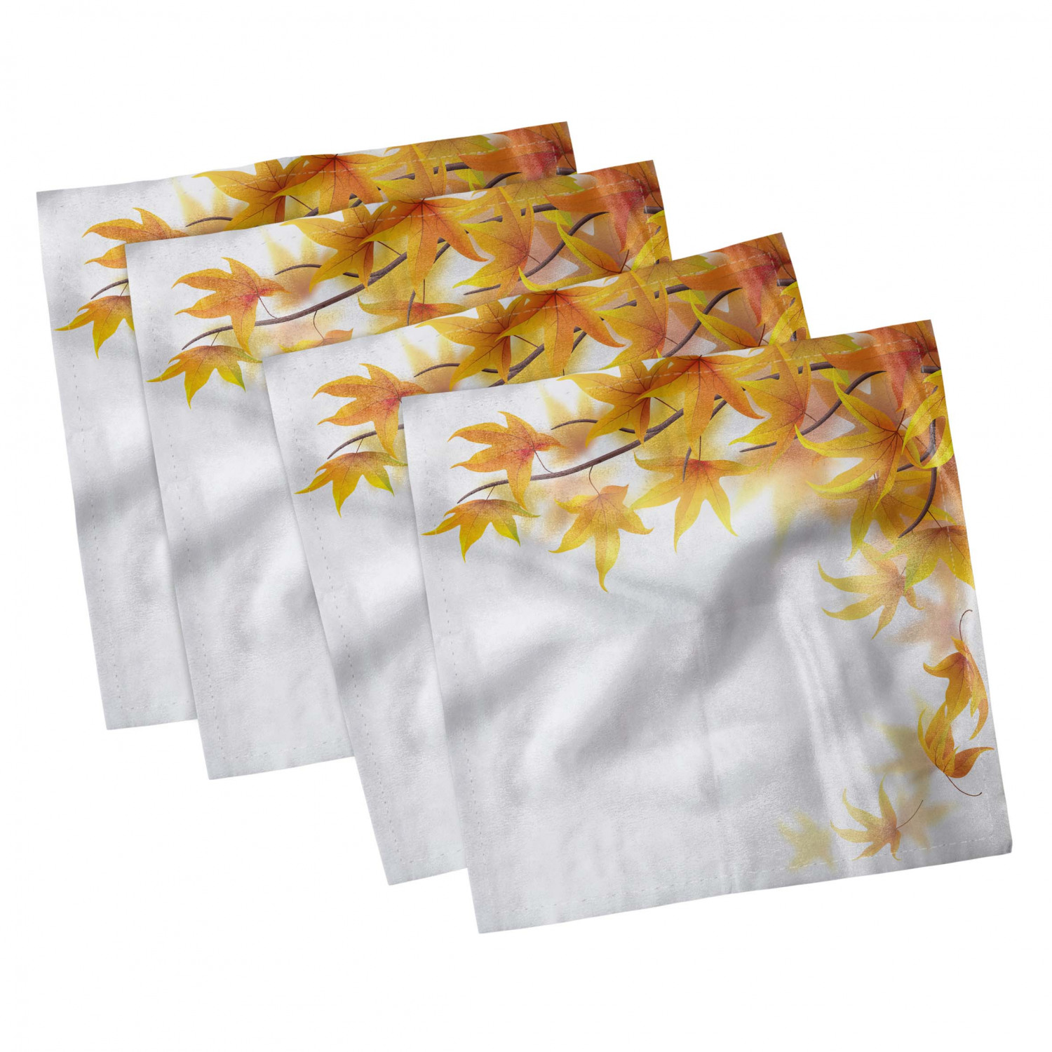 thumbnail 75 - Ambesonne Autumn Fall Decorative Satin Napkins Set of 4 Party Dinner Fabric