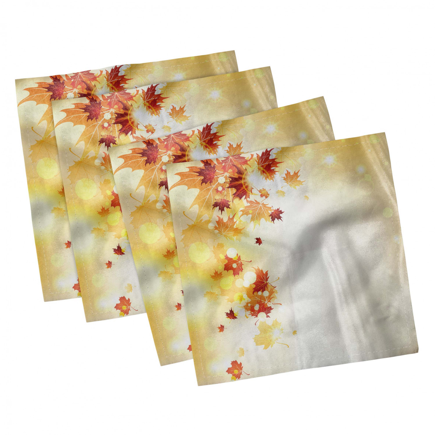 thumbnail 51 - Ambesonne Autumn Fall Decorative Satin Napkins Set of 4 Party Dinner Fabric