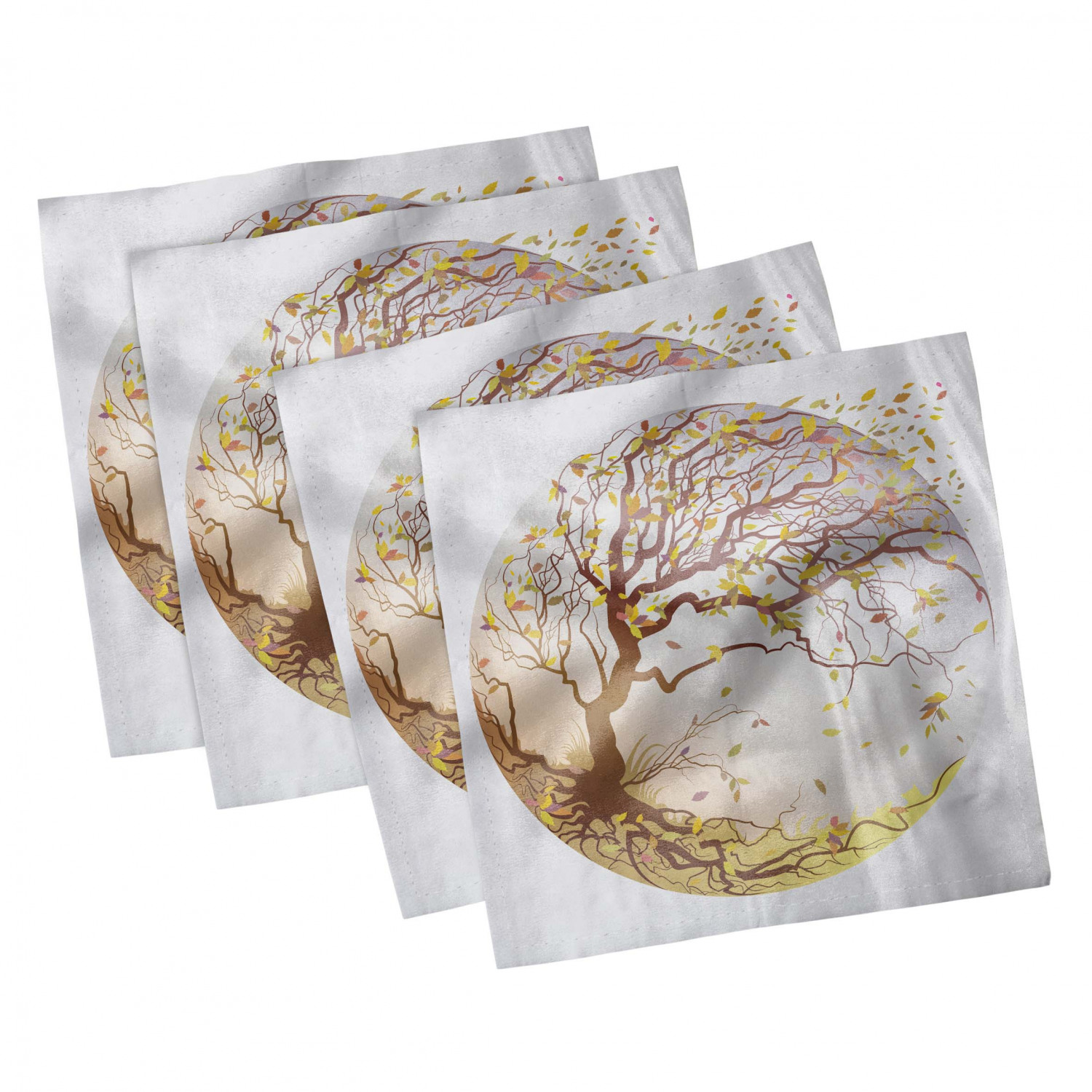 thumbnail 109 - Ambesonne Autumn Fall Decorative Satin Napkins Set of 4 Party Dinner Fabric