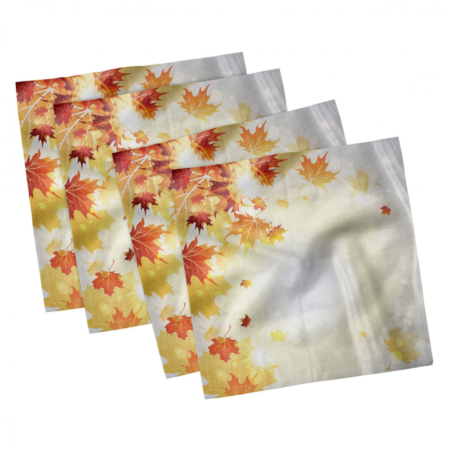 thumbnail 53 - Ambesonne Autumn Fall Decorative Satin Napkins Set of 4 Party Dinner Fabric
