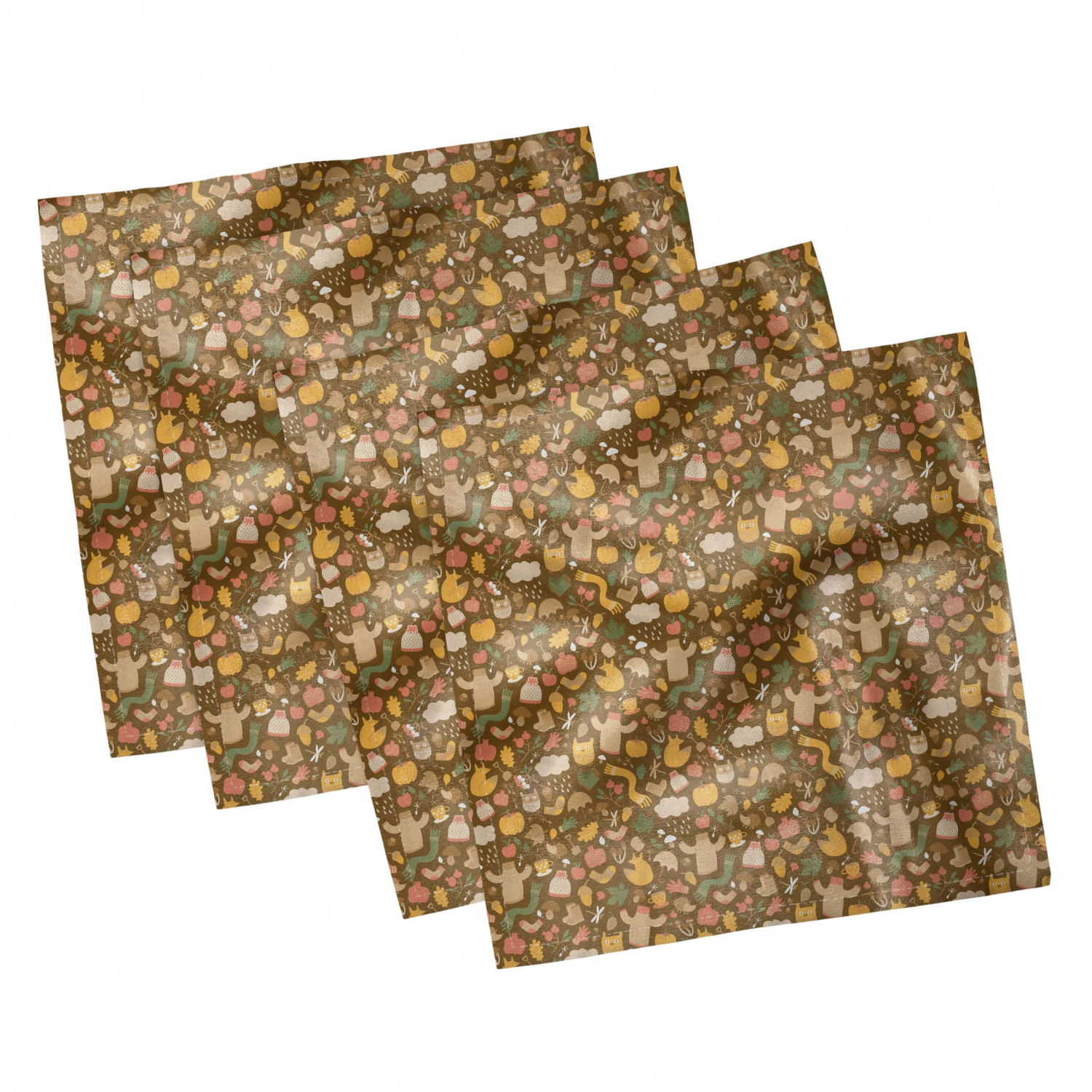 thumbnail 41 - Ambesonne Autumn Fall Decorative Satin Napkins Set of 4 Party Dinner Fabric