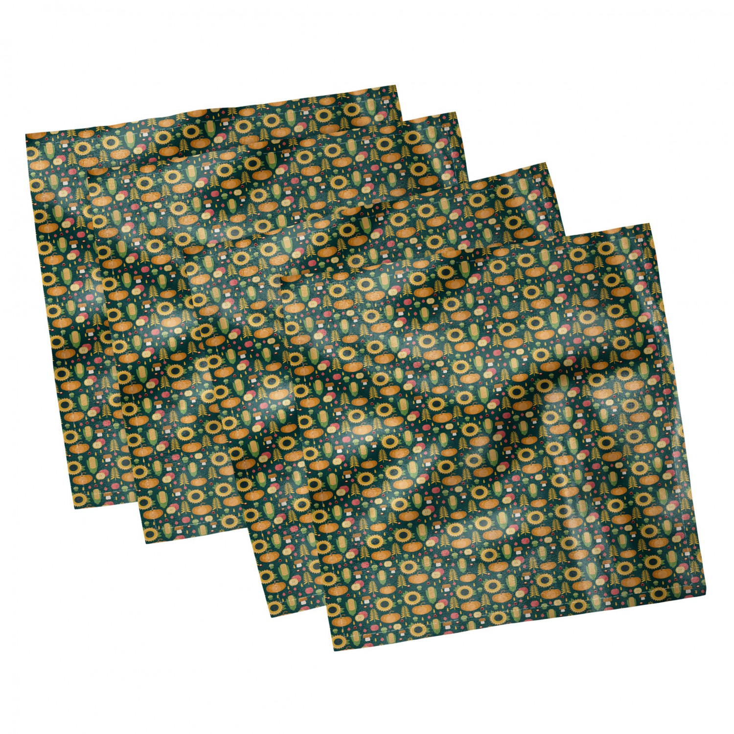 thumbnail 63 - Ambesonne Autumn Fall Decorative Satin Napkins Set of 4 Party Dinner Fabric