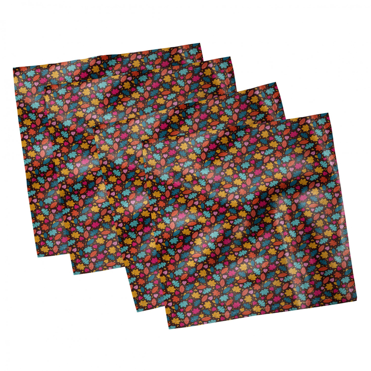 thumbnail 27 - Ambesonne Autumn Fall Decorative Satin Napkins Set of 4 Party Dinner Fabric