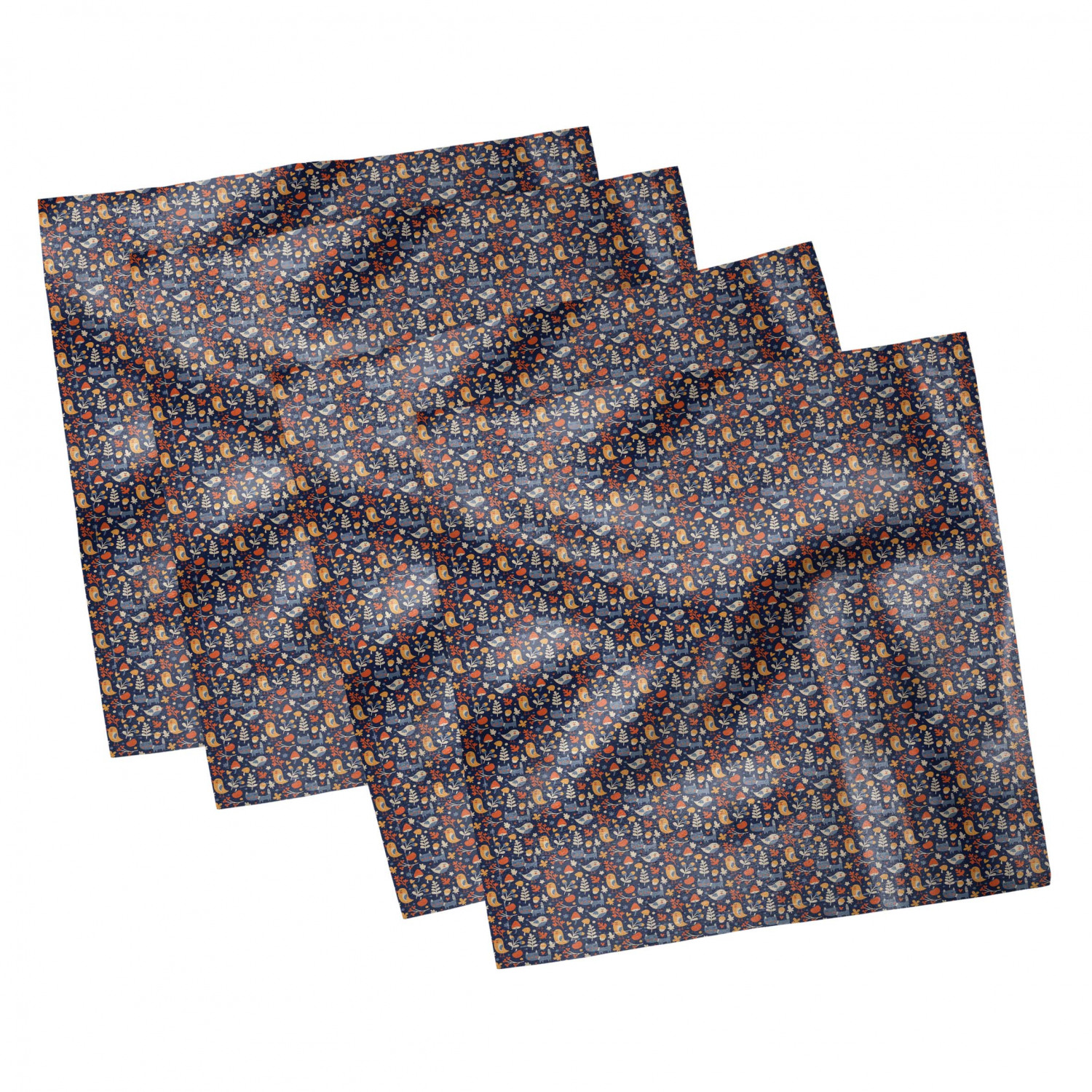 thumbnail 85 - Ambesonne Autumn Fall Decorative Satin Napkins Set of 4 Party Dinner Fabric