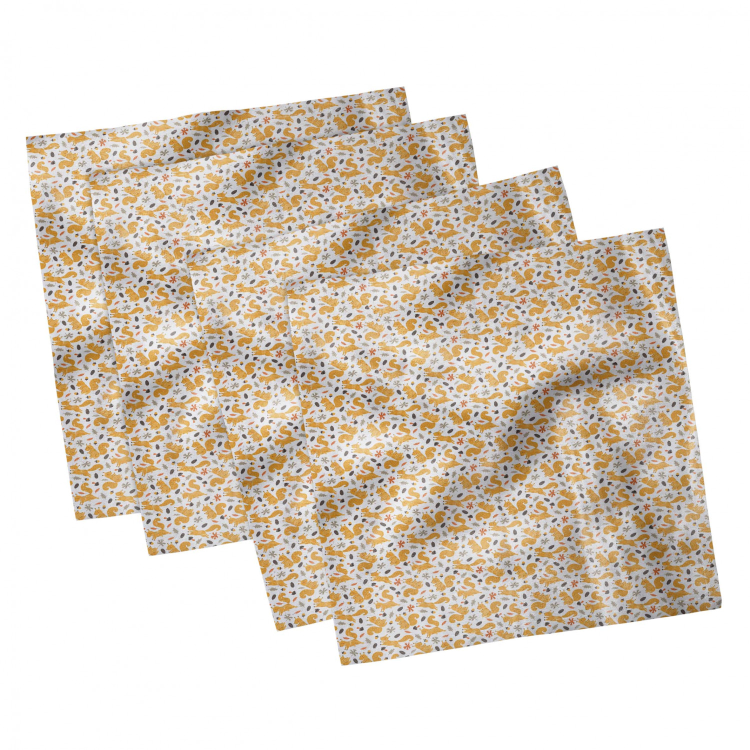 thumbnail 103 - Ambesonne Autumn Fall Decorative Satin Napkins Set of 4 Party Dinner Fabric