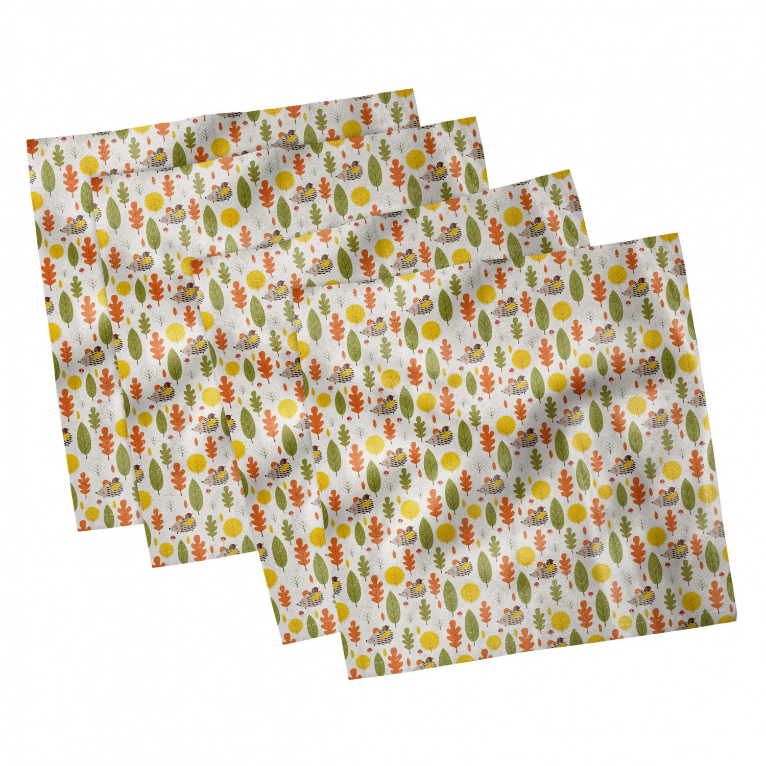thumbnail 9 - Ambesonne Autumn Fall Decorative Satin Napkins Set of 4 Party Dinner Fabric