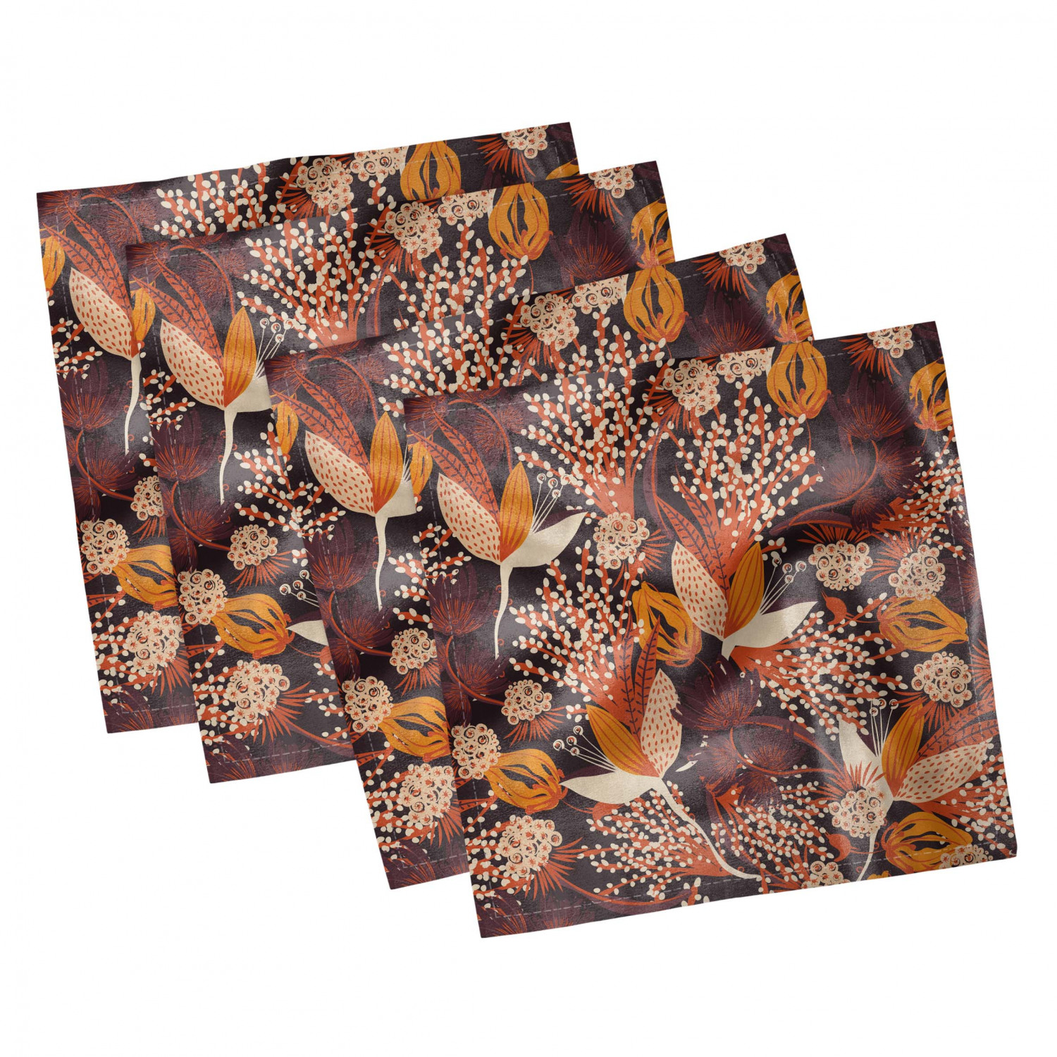 thumbnail 37 - Ambesonne Autumn Fall Decorative Satin Napkins Set of 4 Party Dinner Fabric