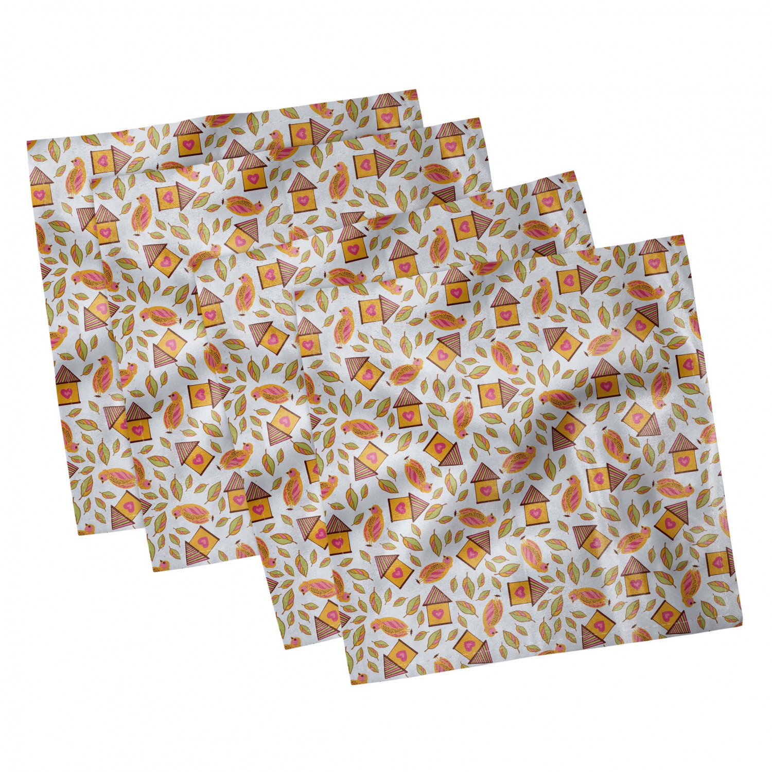 thumbnail 11 - Ambesonne-Autumn-Fall-Decorative-Satin-Napkins-Set-of-4-Party-Dinner-Fabric