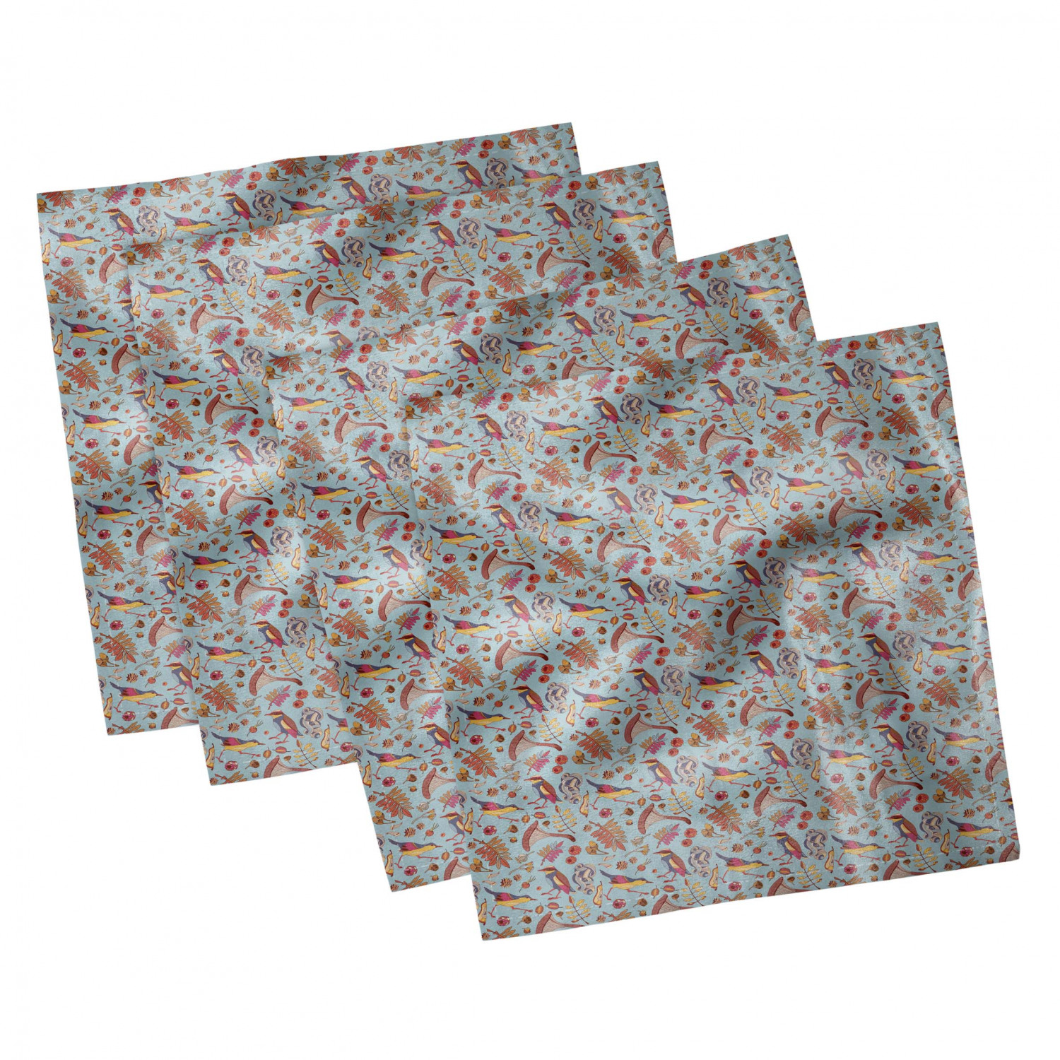 thumbnail 15 - Ambesonne-Autumn-Fall-Decorative-Satin-Napkins-Set-of-4-Party-Dinner-Fabric