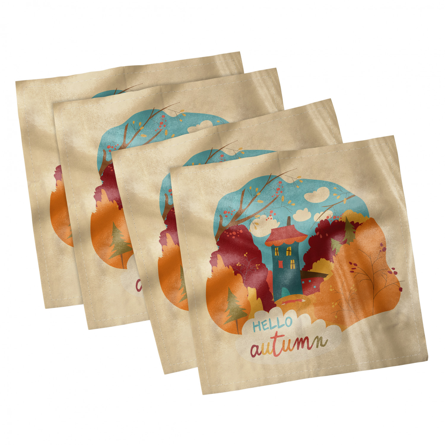 thumbnail 29 - Ambesonne-Autumn-Fall-Decorative-Satin-Napkins-Set-of-4-Party-Dinner-Fabric