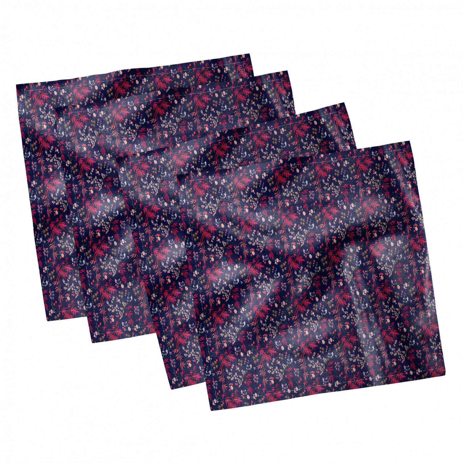 thumbnail 9 - Ambesonne-Leaves-Forest-Decorative-Satin-Napkins-Set-of-4-Party-Dinner-Fabric