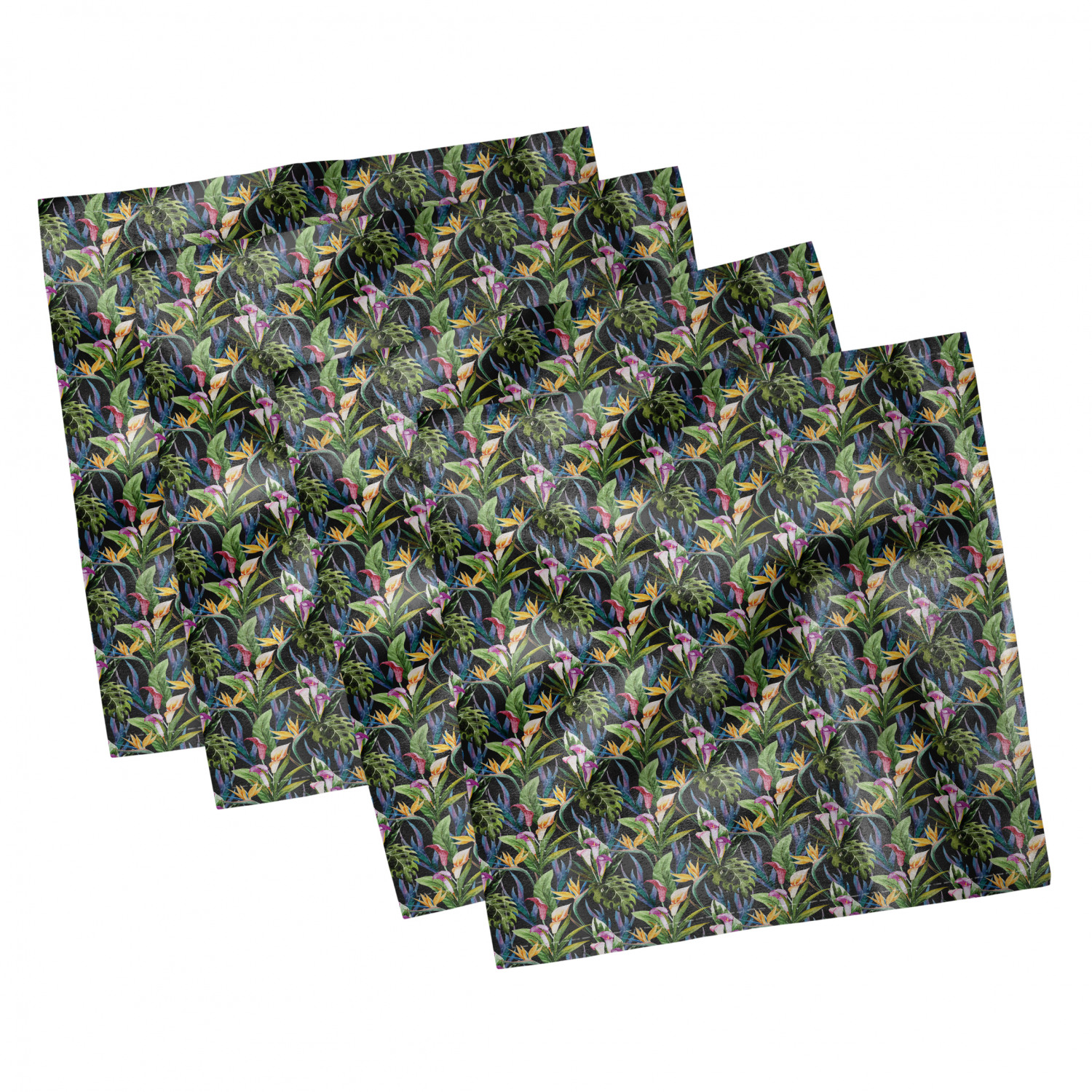 thumbnail 83 - Ambesonne-Leaves-Forest-Decorative-Satin-Napkins-Set-of-4-Party-Dinner-Fabric