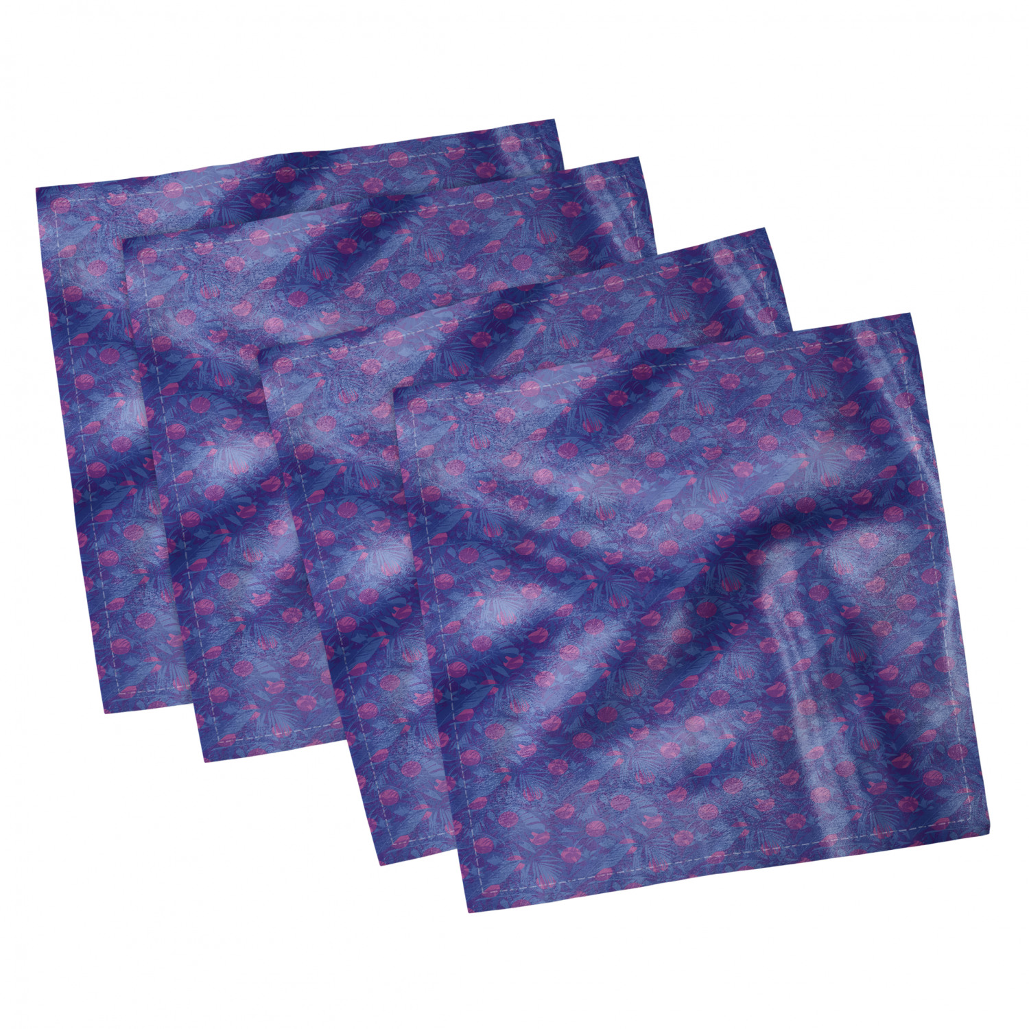 thumbnail 49 - Ambesonne-Leaves-Forest-Decorative-Satin-Napkins-Set-of-4-Party-Dinner-Fabric