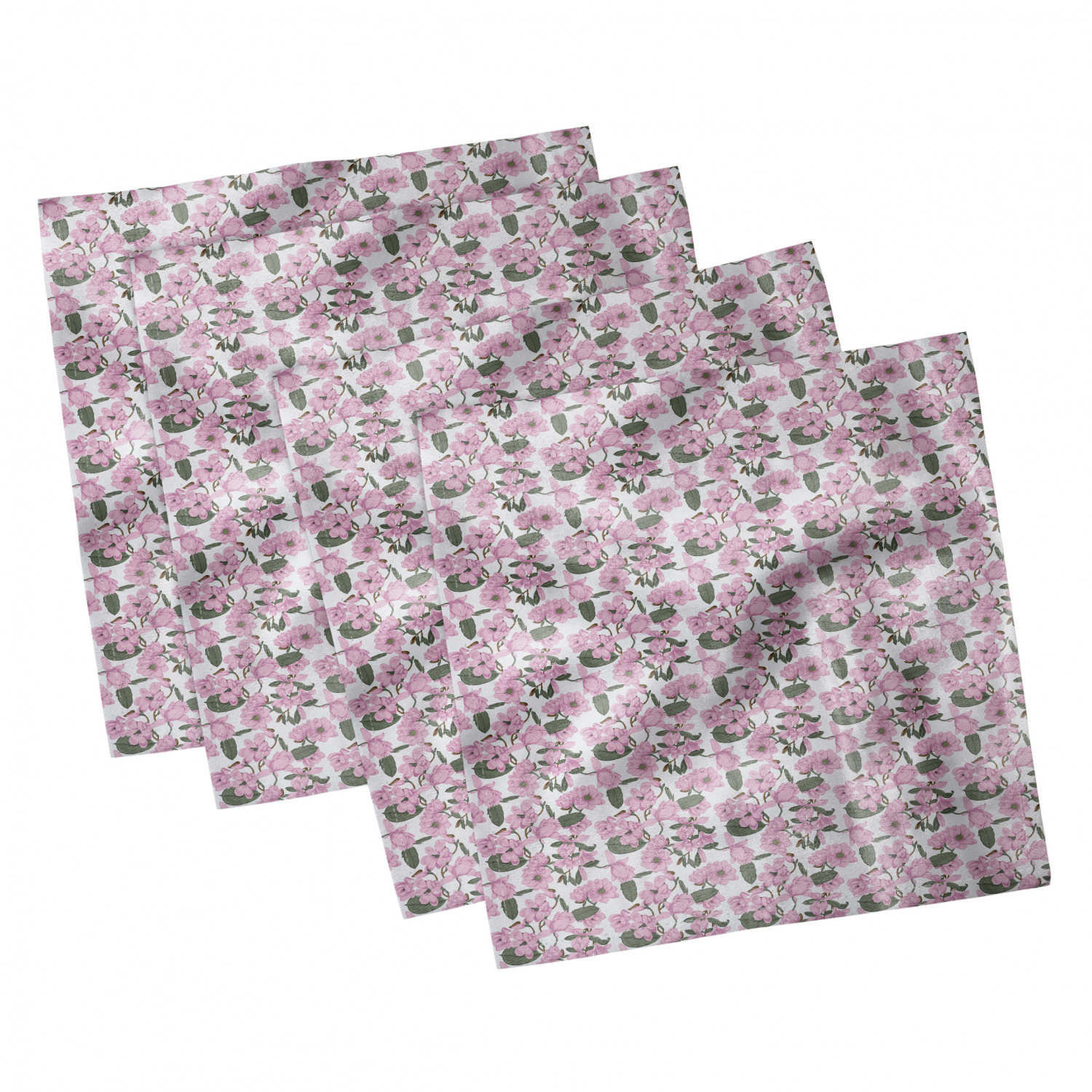 thumbnail 65 - Ambesonne-Leaves-Forest-Decorative-Satin-Napkins-Set-of-4-Party-Dinner-Fabric