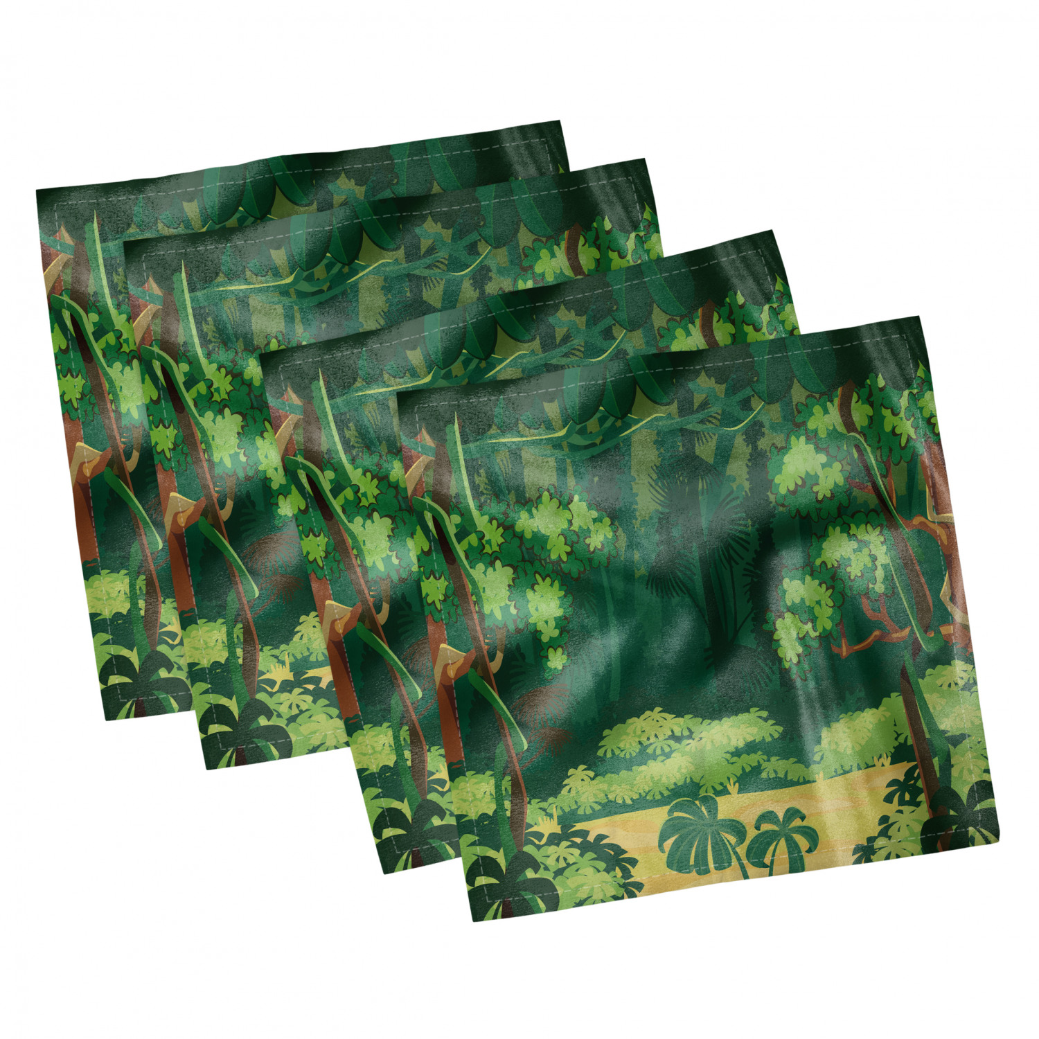 thumbnail 81 - Ambesonne-Leaves-Forest-Decorative-Satin-Napkins-Set-of-4-Party-Dinner-Fabric