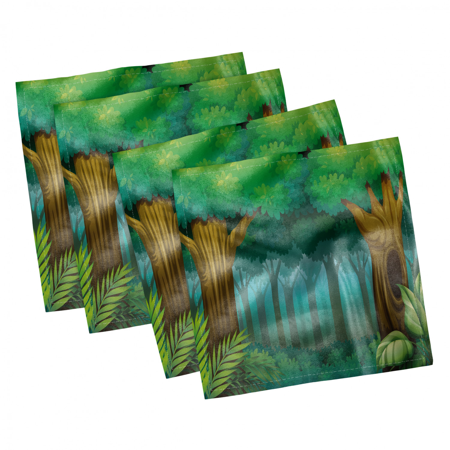 thumbnail 41 - Ambesonne-Leaves-Forest-Decorative-Satin-Napkins-Set-of-4-Party-Dinner-Fabric