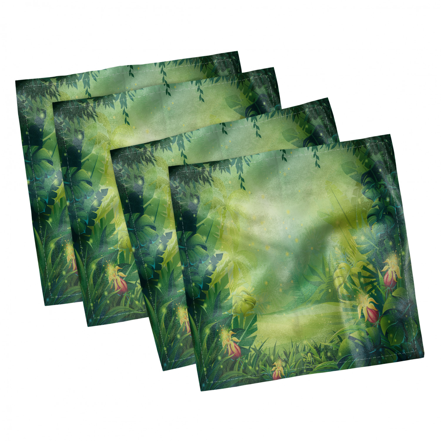 thumbnail 23 - Ambesonne-Leaves-Forest-Decorative-Satin-Napkins-Set-of-4-Party-Dinner-Fabric