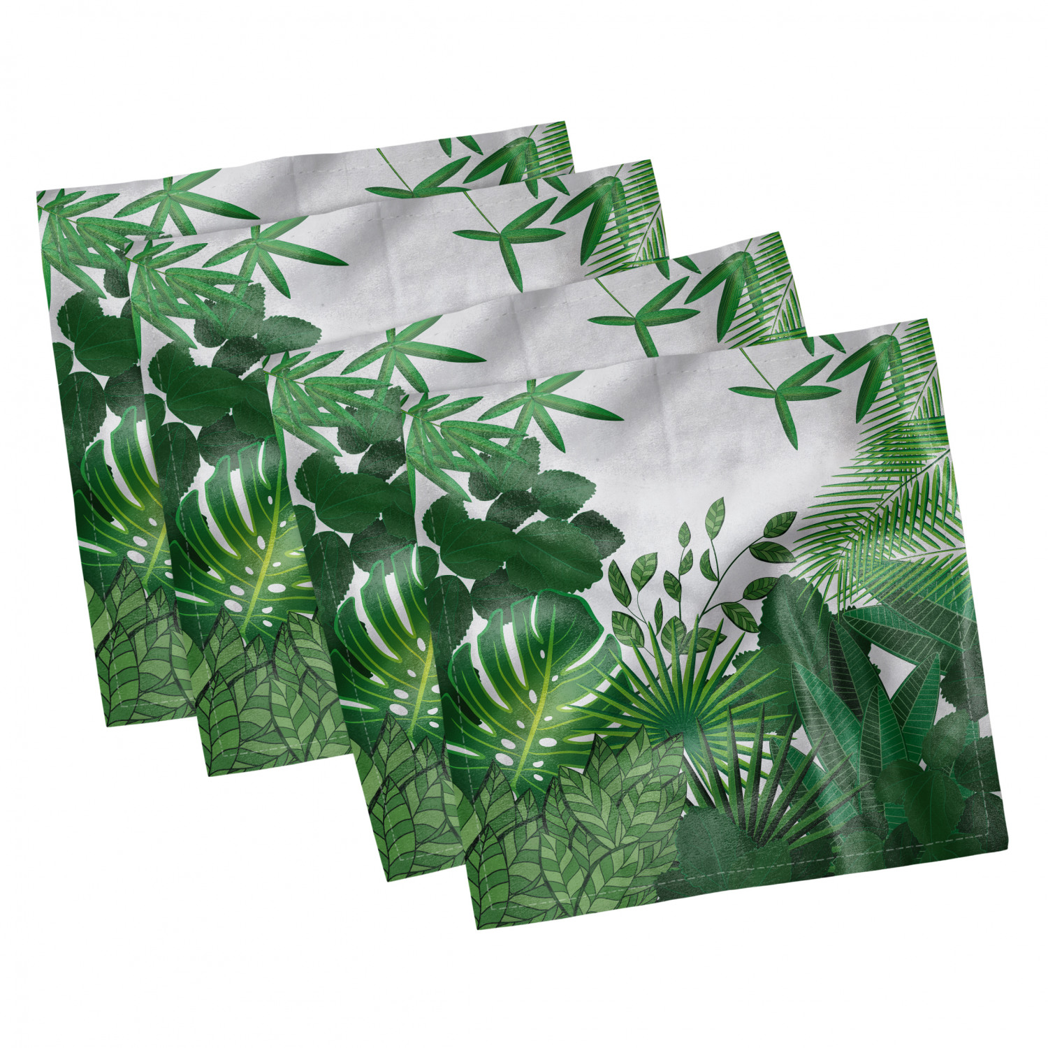 thumbnail 53 - Ambesonne-Leaves-Forest-Decorative-Satin-Napkins-Set-of-4-Party-Dinner-Fabric