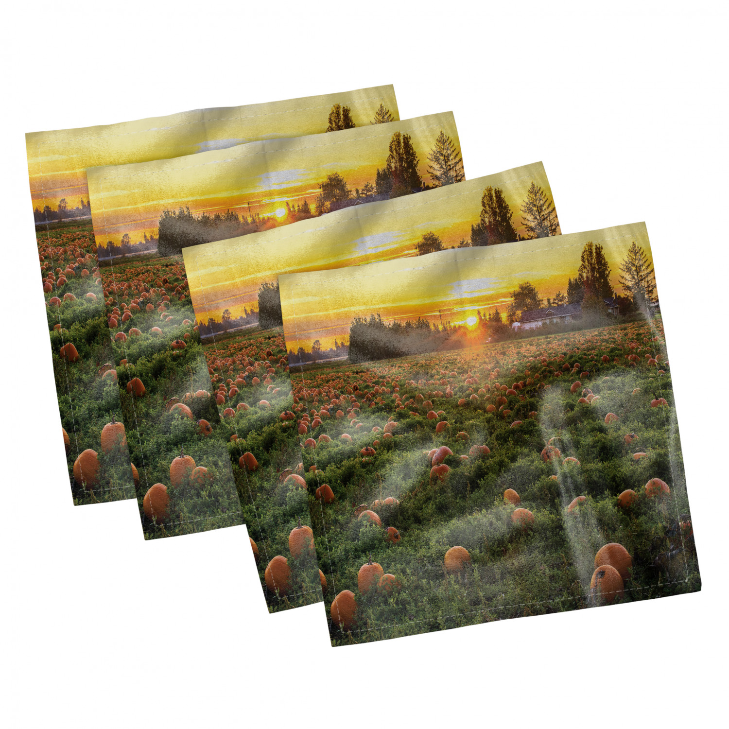 thumbnail 35 - Ambesonne-Autumn-Fall-Decorative-Satin-Napkins-Set-of-4-Party-Dinner-Fabric