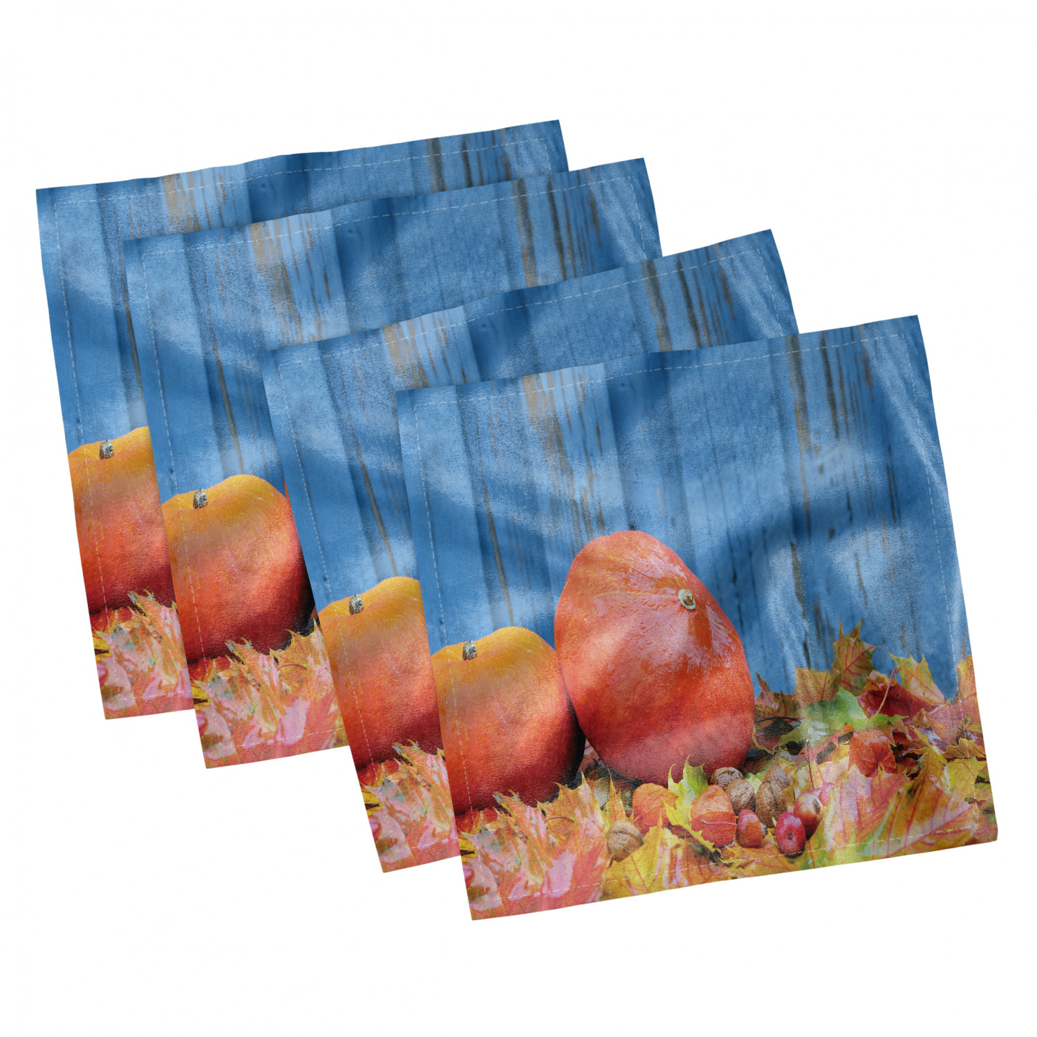 thumbnail 57 - Ambesonne Autumn Fall Decorative Satin Napkins Set of 4 Party Dinner Fabric