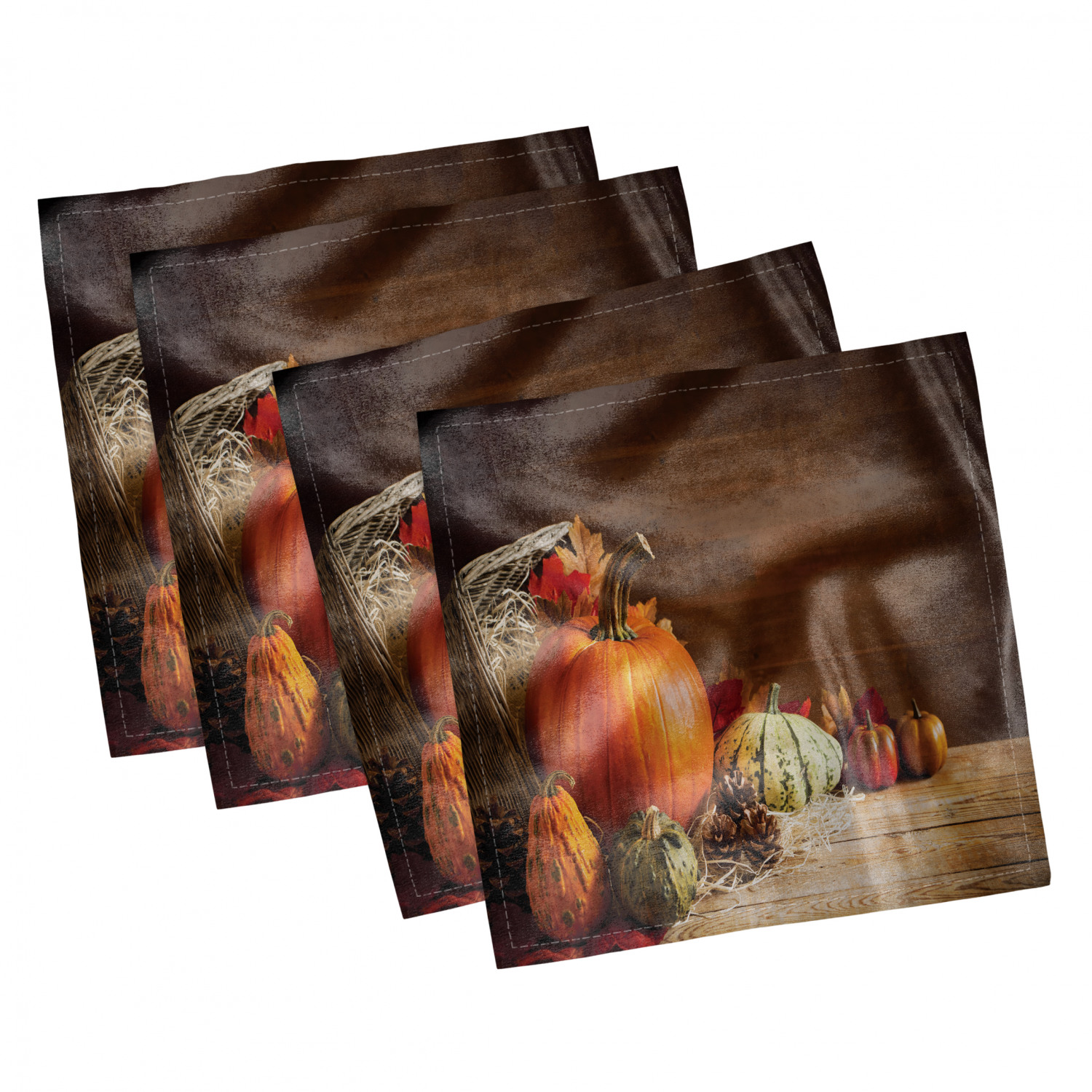 thumbnail 25 - Ambesonne Autumn Fall Decorative Satin Napkins Set of 4 Party Dinner Fabric