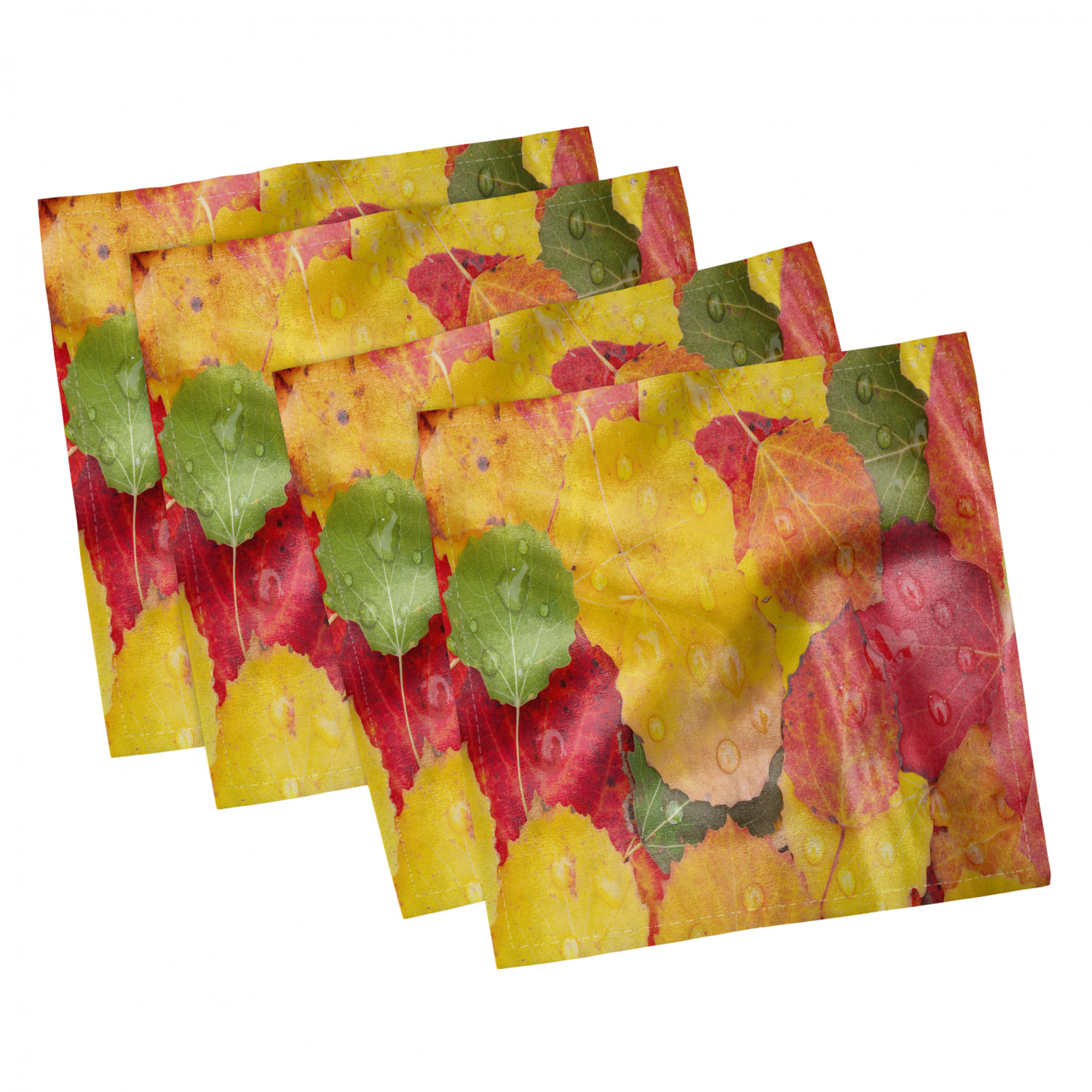 thumbnail 25 - Ambesonne-Leaves-Forest-Decorative-Satin-Napkins-Set-of-4-Party-Dinner-Fabric