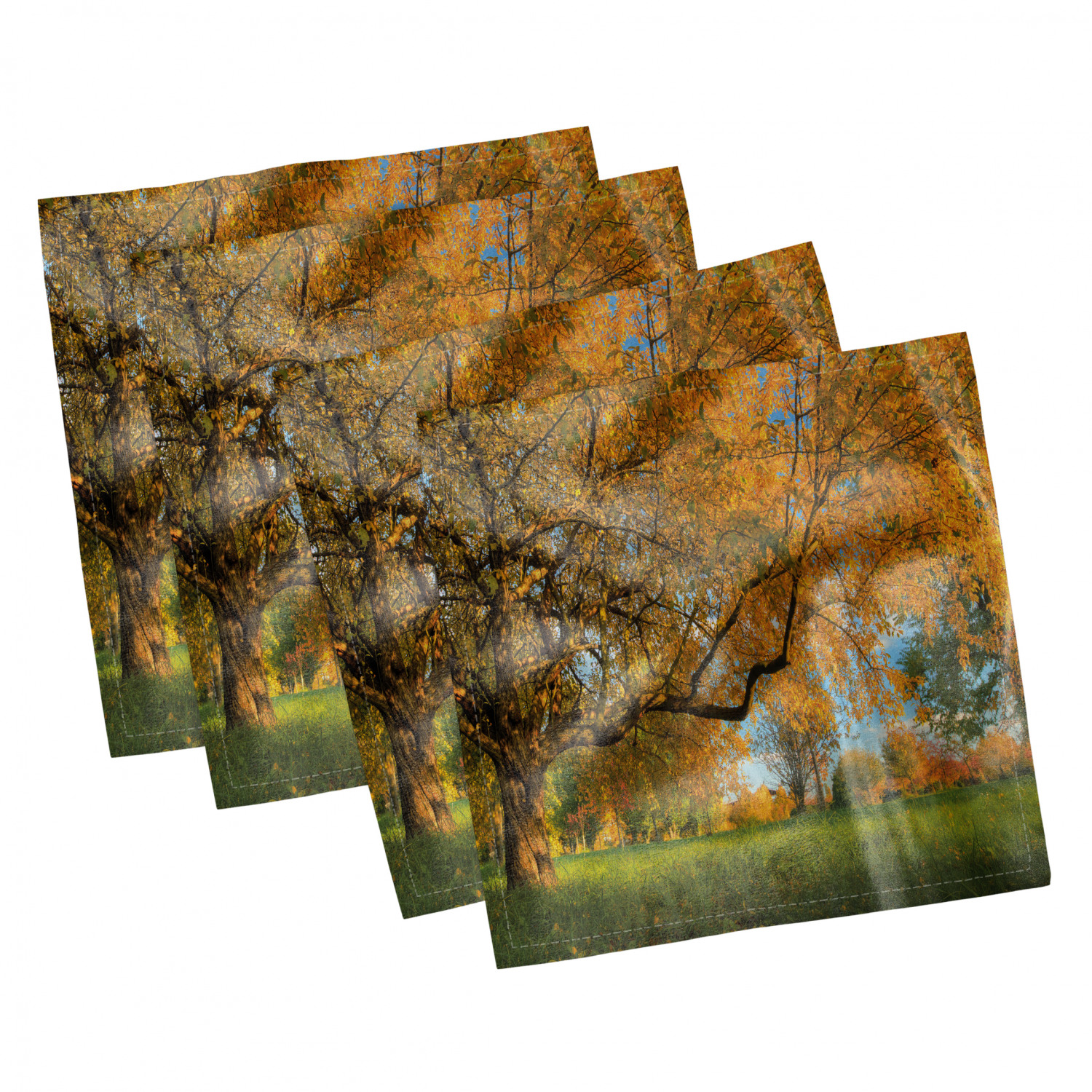 thumbnail 113 - Ambesonne-Leaves-Forest-Decorative-Satin-Napkins-Set-of-4-Party-Dinner-Fabric