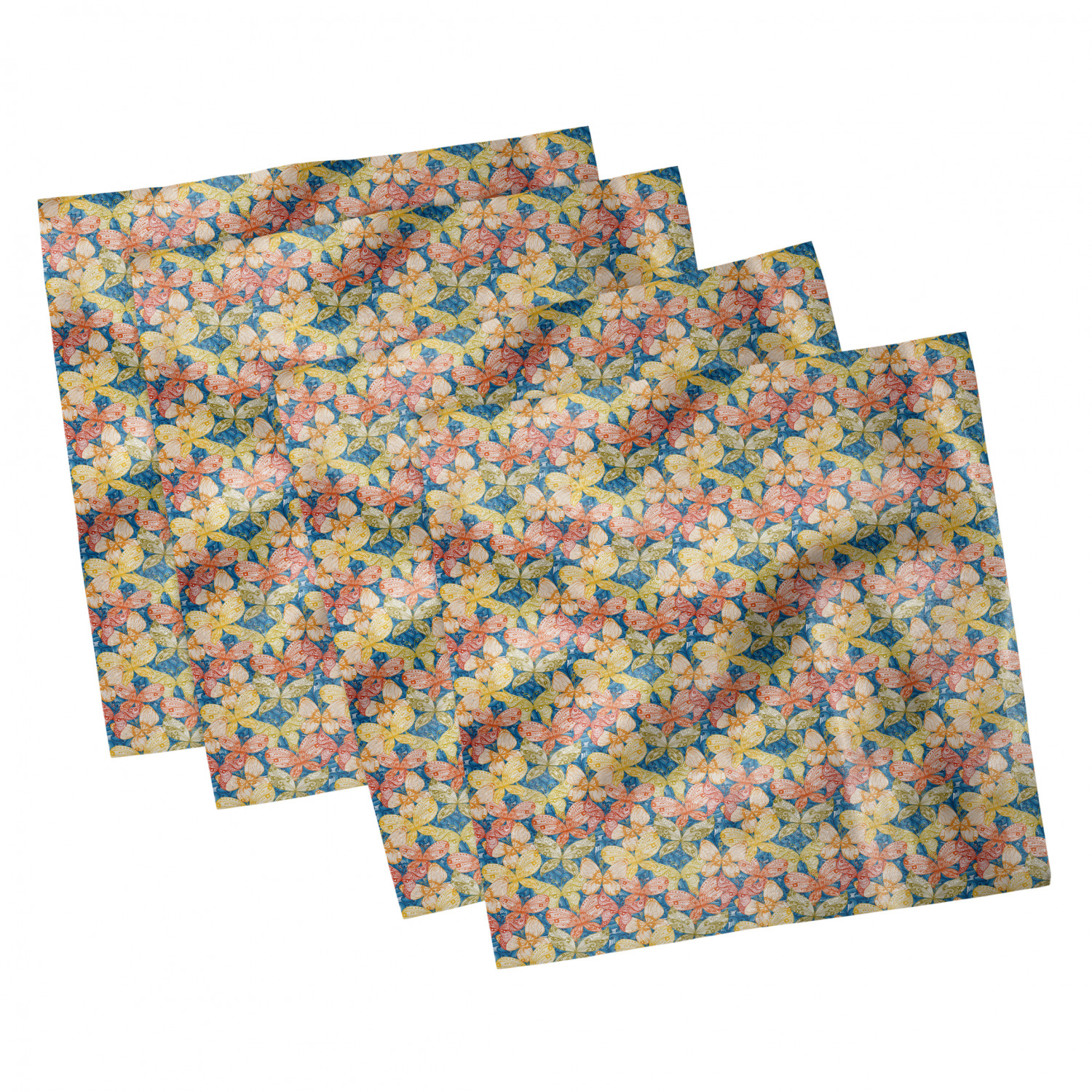 thumbnail 17 - Ambesonne-Leaves-Forest-Decorative-Satin-Napkins-Set-of-4-Party-Dinner-Fabric