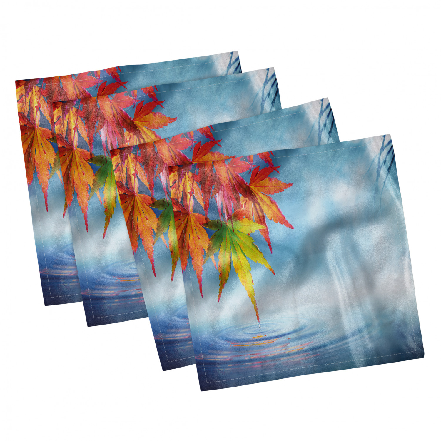 thumbnail 121 - Ambesonne-Leaves-Forest-Decorative-Satin-Napkins-Set-of-4-Party-Dinner-Fabric