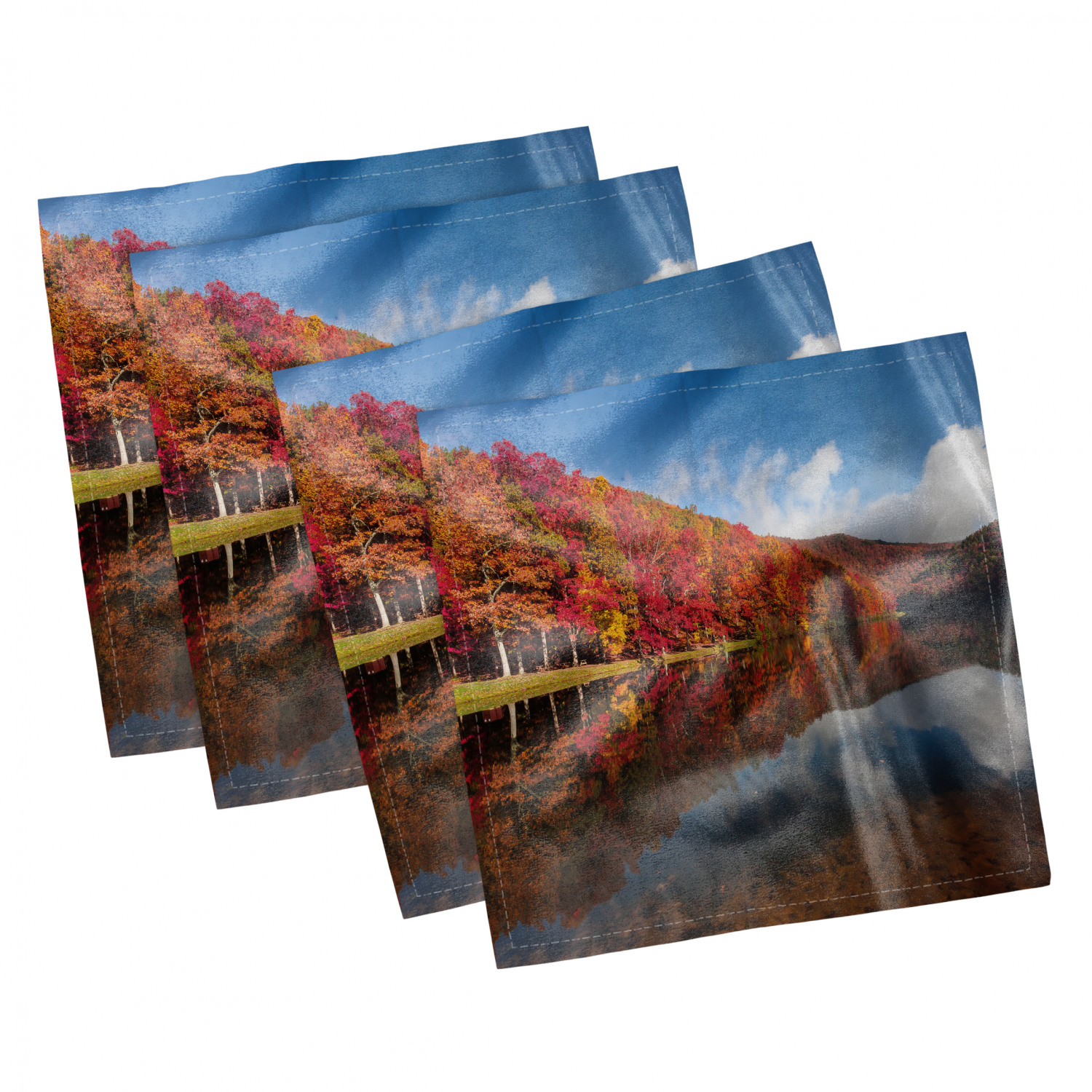 thumbnail 73 - Ambesonne-Leaves-Forest-Decorative-Satin-Napkins-Set-of-4-Party-Dinner-Fabric