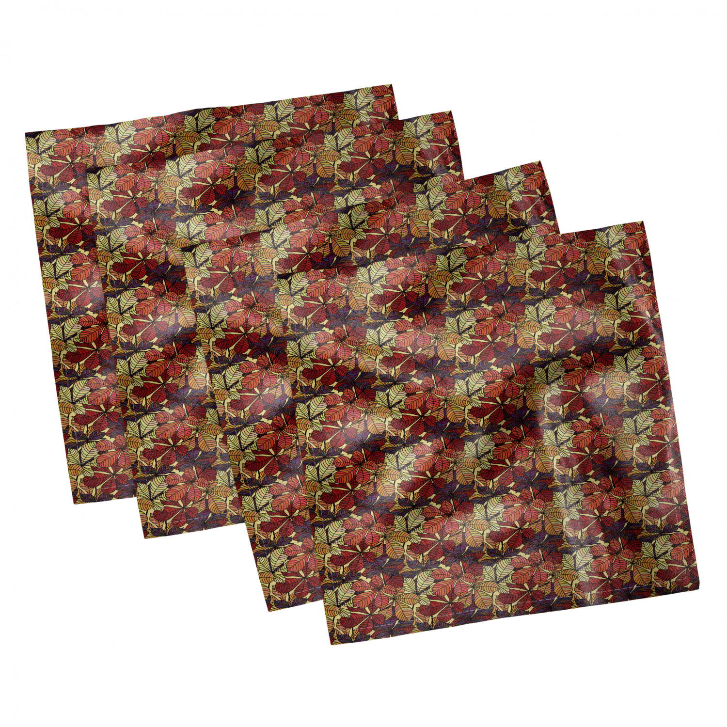thumbnail 95 - Ambesonne-Leaves-Forest-Decorative-Satin-Napkins-Set-of-4-Party-Dinner-Fabric