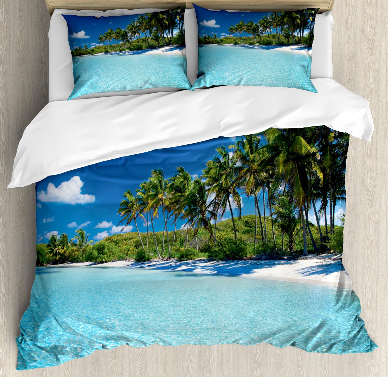 Sea Duvet Cover Set with Pillow Shams Relax Beach Resort Spa Print