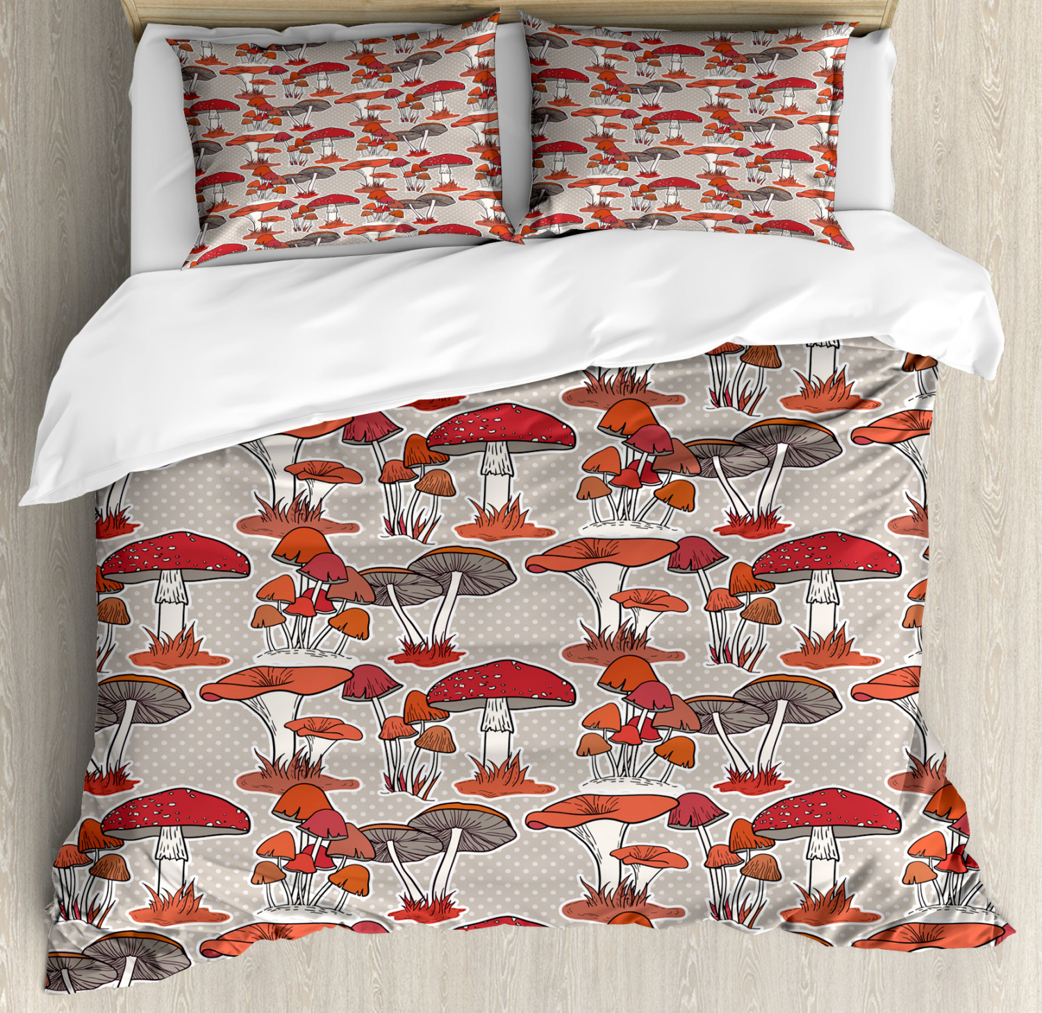 Woodland Mushroom Duvet Cover Set Twin Queen King Sizes with