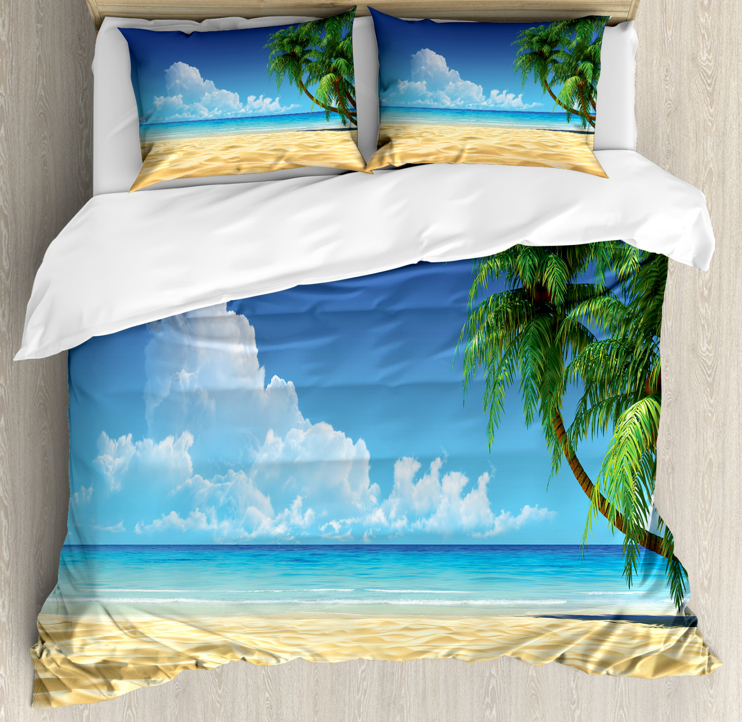 Palm Tree Duvet Cover Set With Pillow Shams