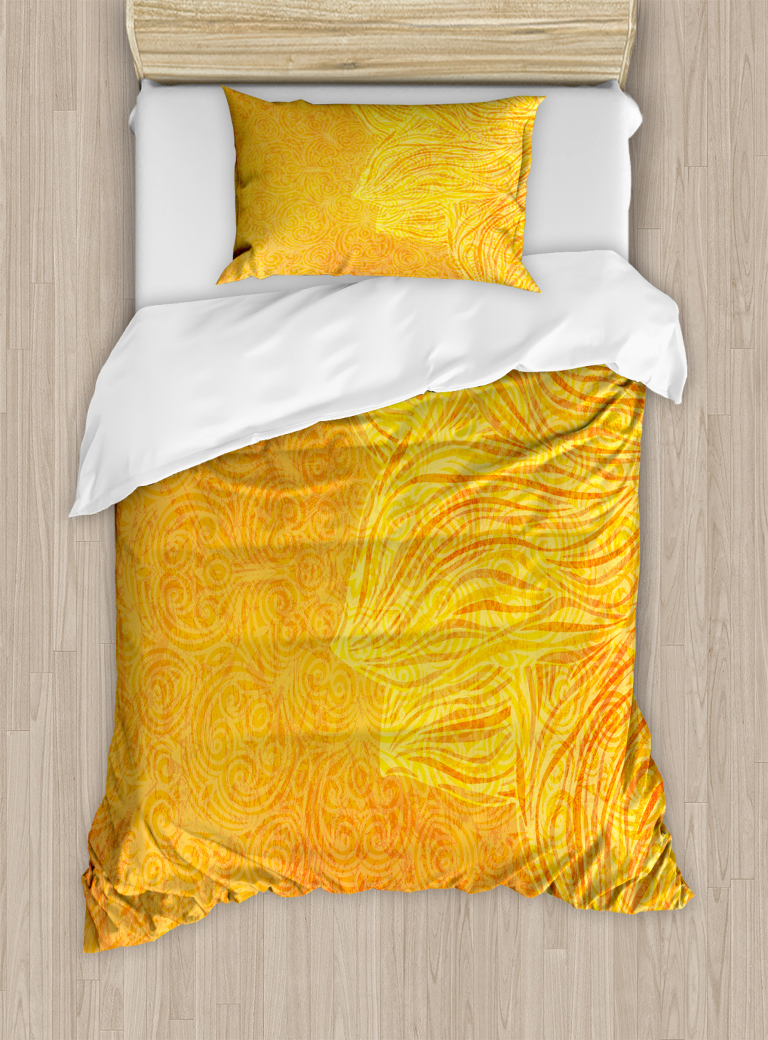 Tangerine Duvet Cover Set Twin Queen King Sizes with Pillow Shams