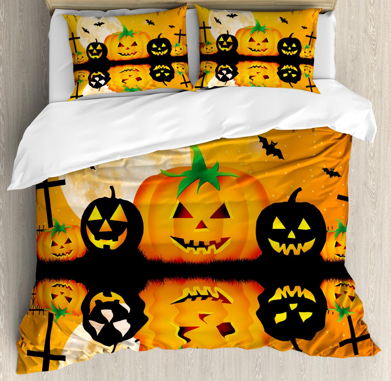 Halloween Duvet Cover Set with Pillow Shams Scary Pumpkin Print