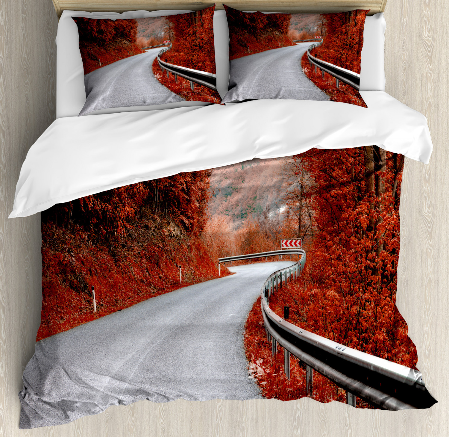 Fall Duvet Cover Set with Pillow Shams Dreamy Road Travel Theme Print
