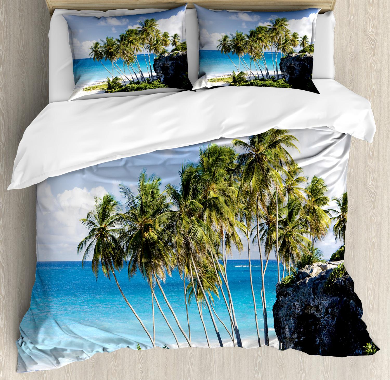 Tropical Housse De Couette Avec Oreiller Shams Ocean exotique Plage Imprimé
