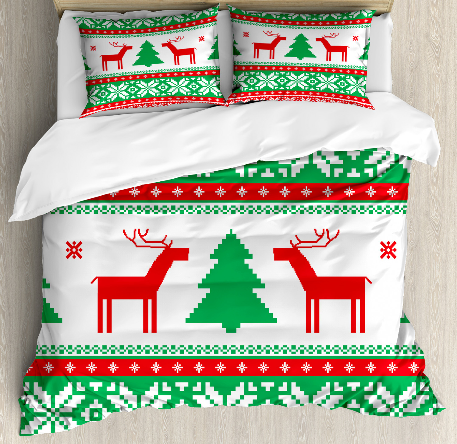 Christmas Duvet Cover Set with Pillow Shams Holiday Season Deer Print