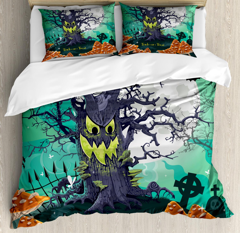 Halloween Duvet Cover Set with Pillow Shams Spooky Tree Print